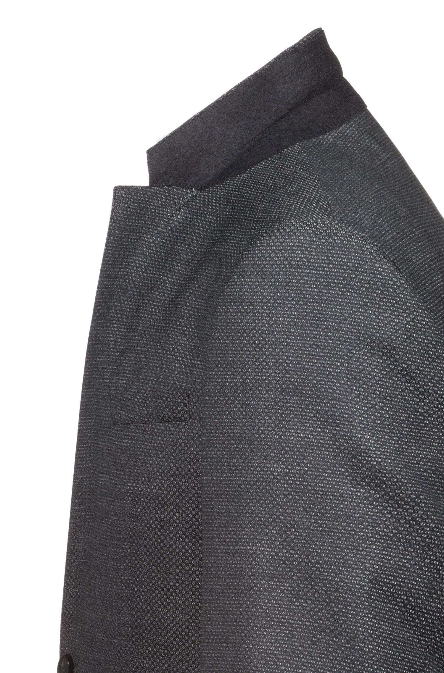 Extra slim-fit kostuum van scheerwol met dessin, Antraciet