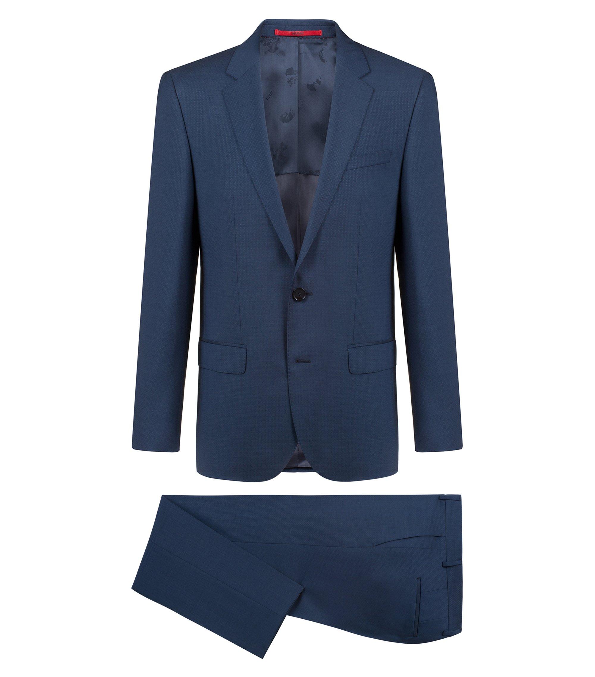 Slim-fit kostuum van scheerwol met microdessin, Donkerblauw