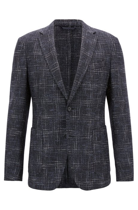 Slim-fit blazer in a micro-patterned virgin-wool blend, Open Blue