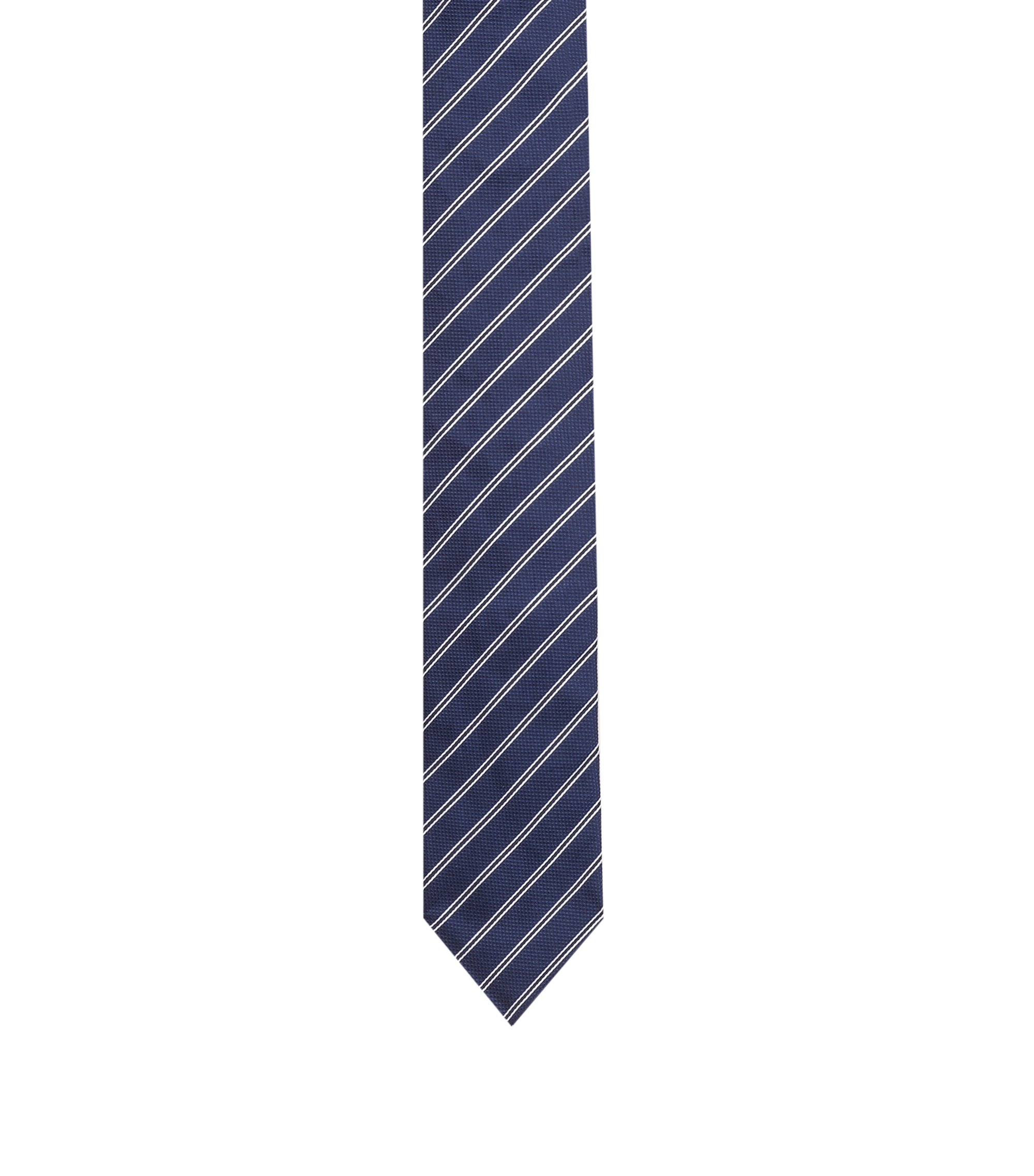 Silk-jacquard tie with diagonal stripes, Dark Blue