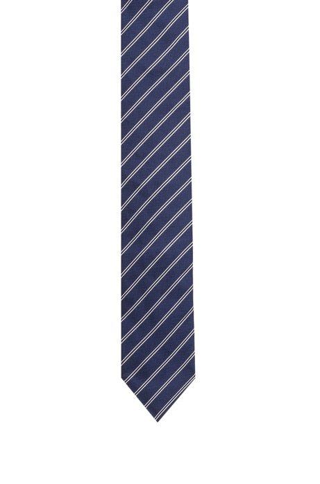 Silk jacquard tie with diagonal stripe HUGO BOSS QamtF