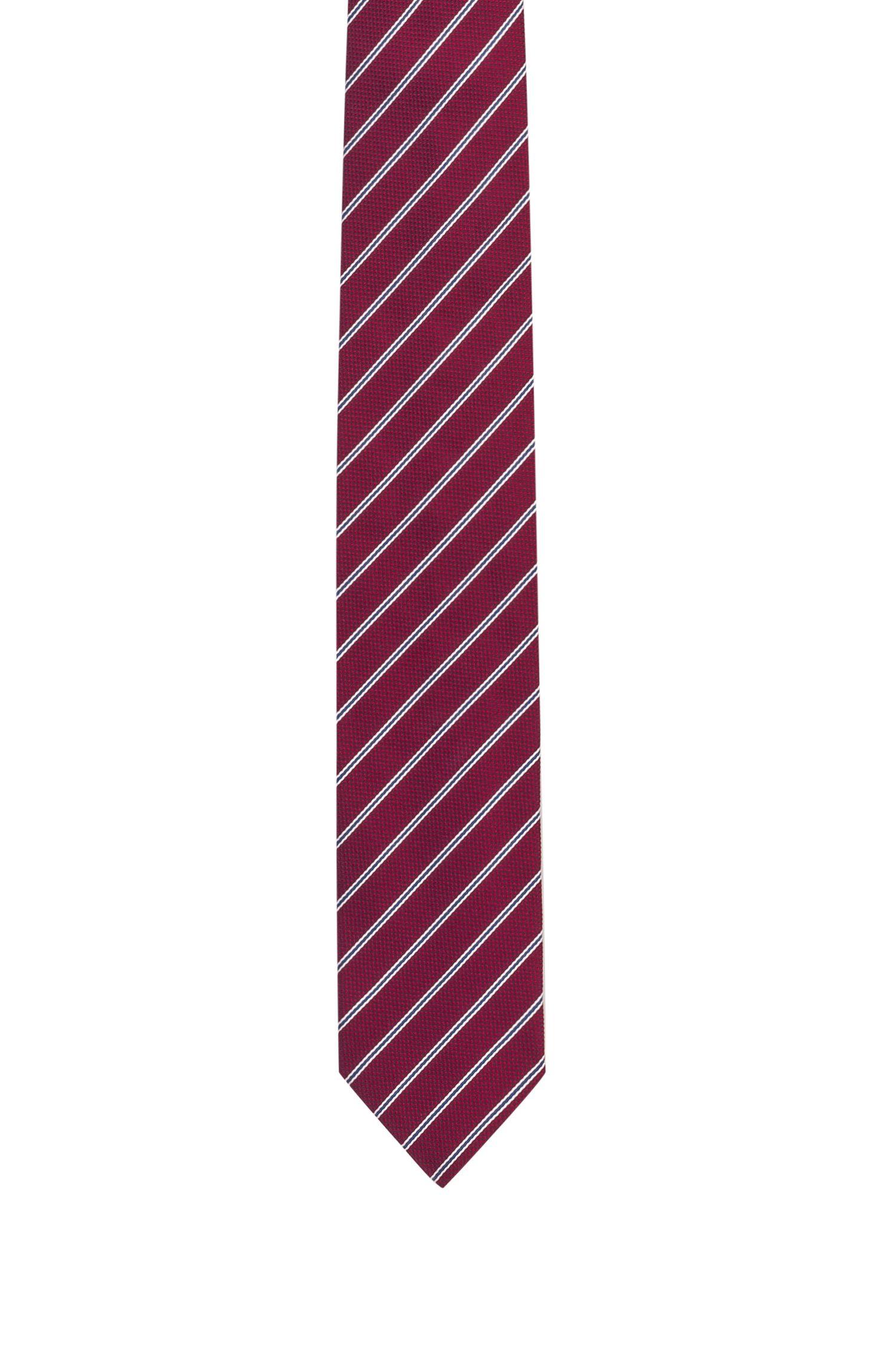 Cravate en jacquard de soie à rayures en diagonale, Rouge