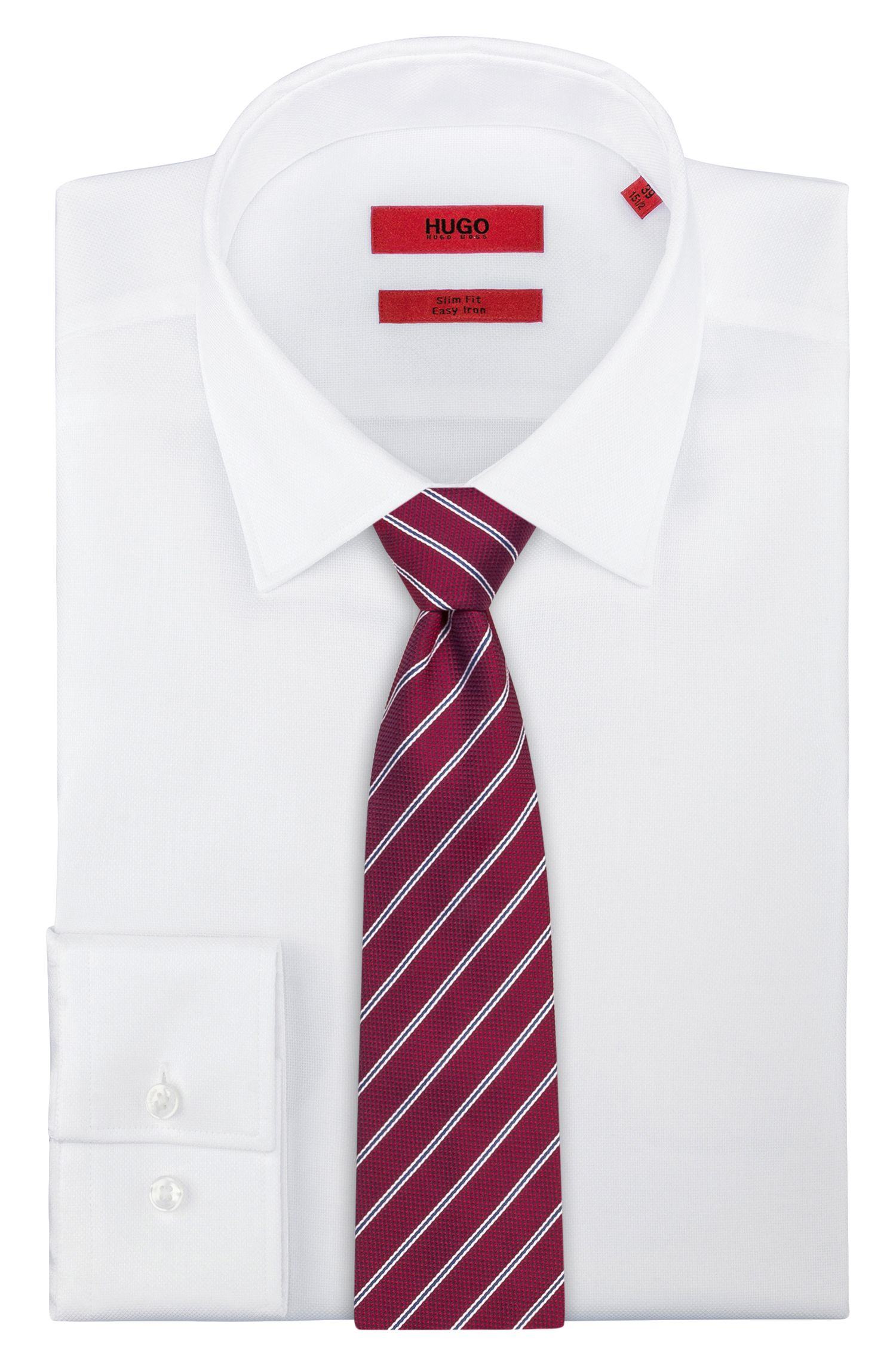 Silk-jacquard tie with diagonal stripes, Red