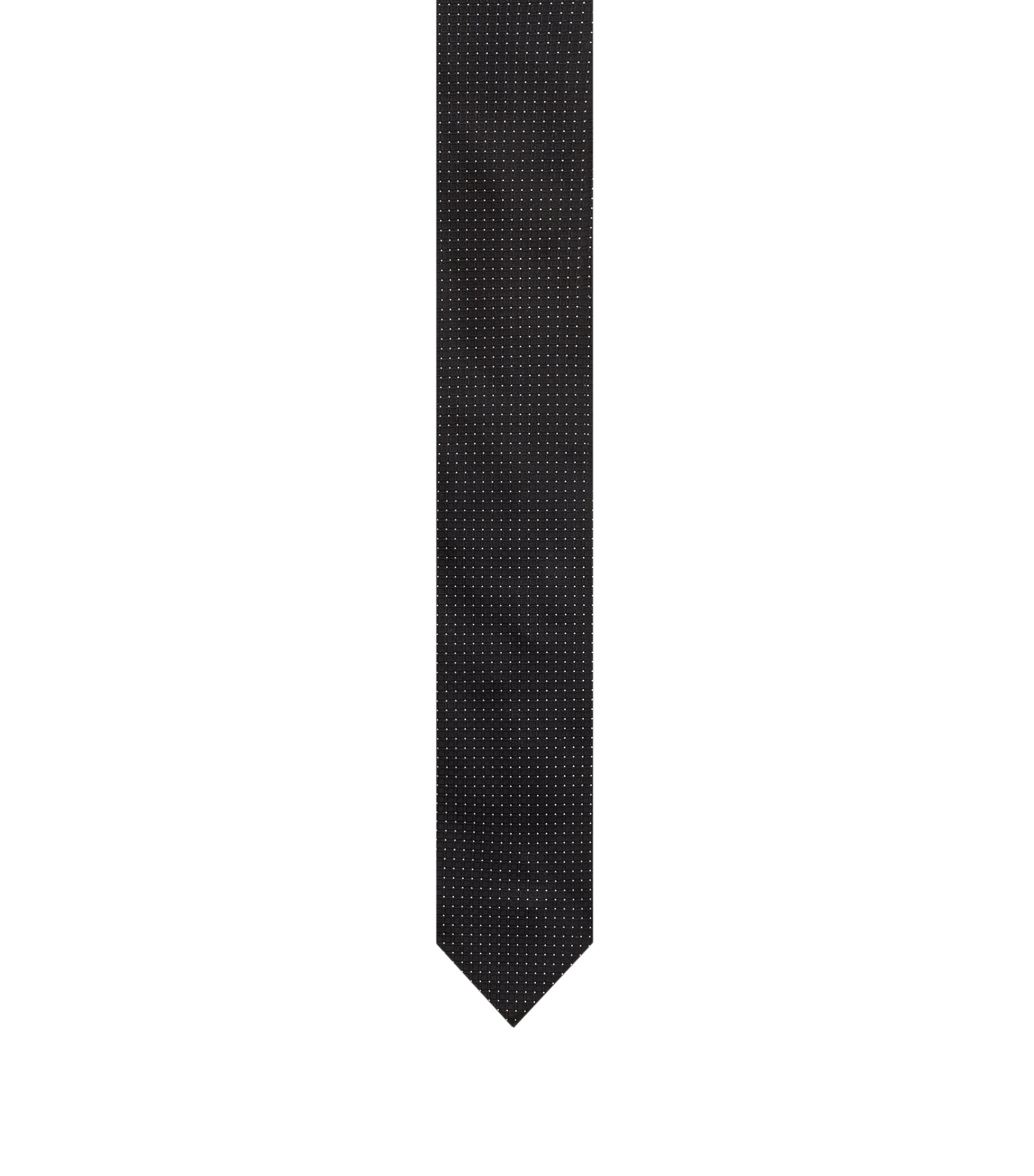 Tie in pure silk jacquard with micro pattern, Black