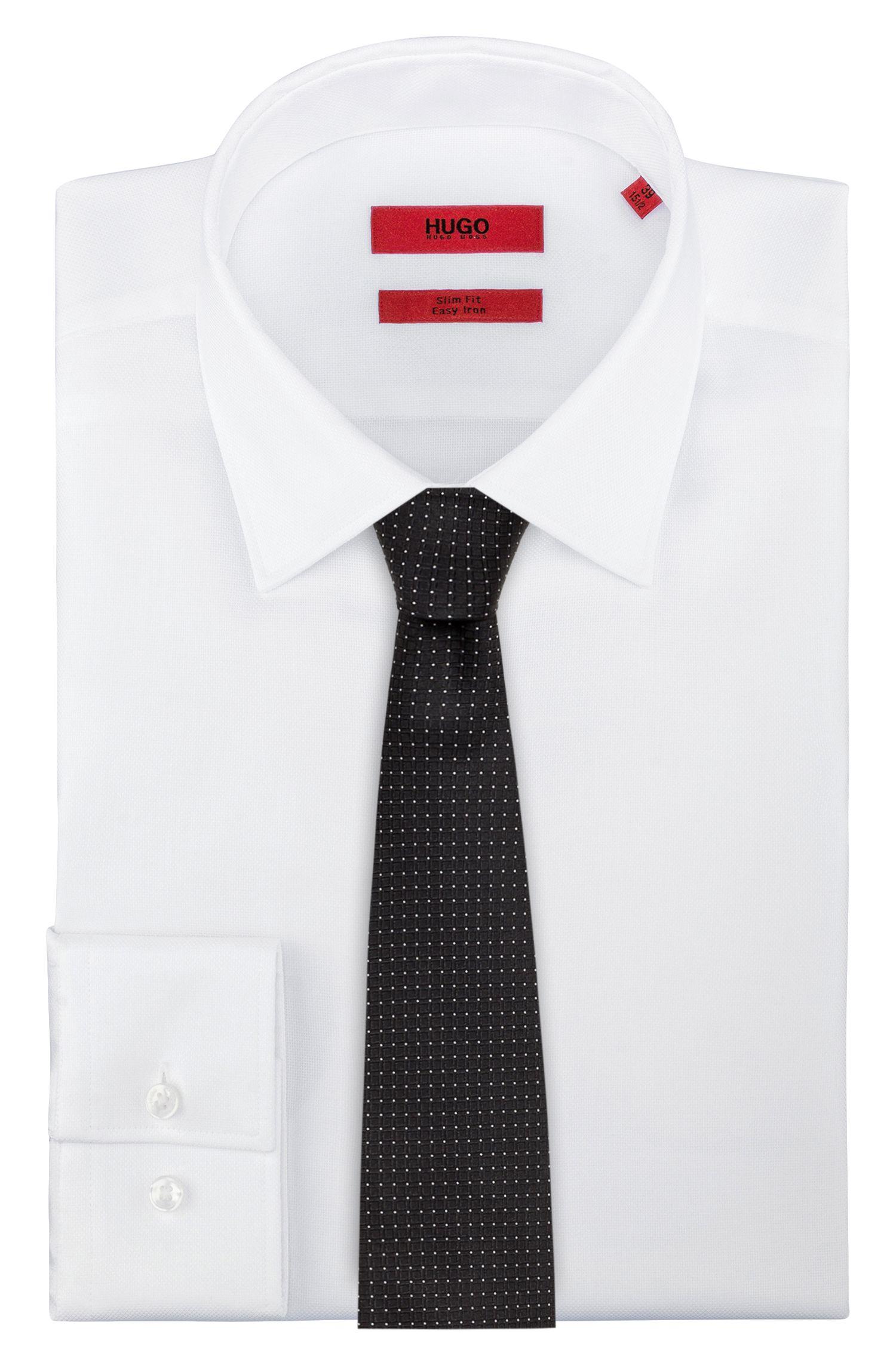 Cravate jacquard en pure soie à micro-motif, Noir