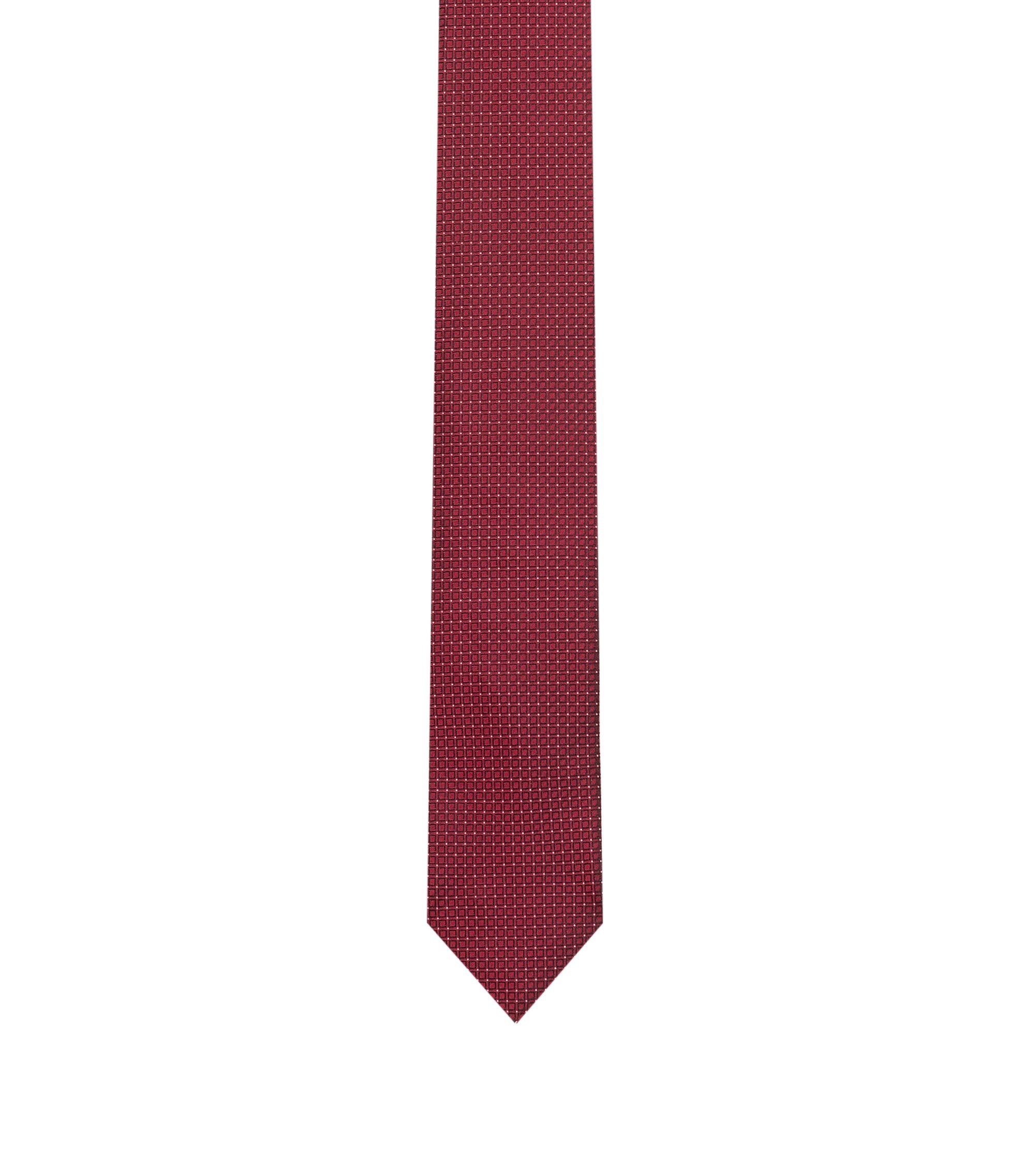 Tie in pure silk jacquard with micro pattern, Red