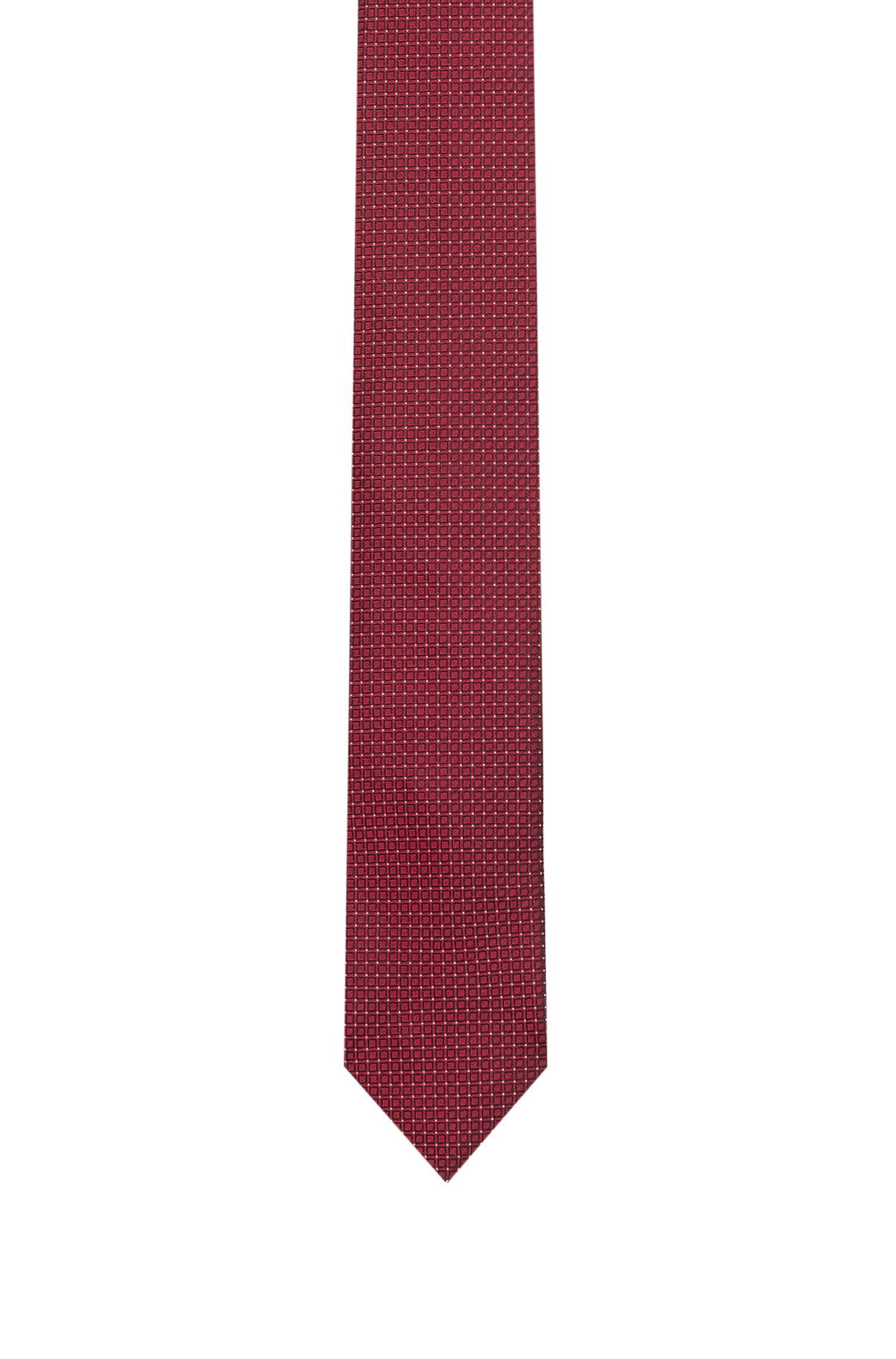 Jacquard-Krawatte aus reiner Seide mit filigranem Muster, Rot