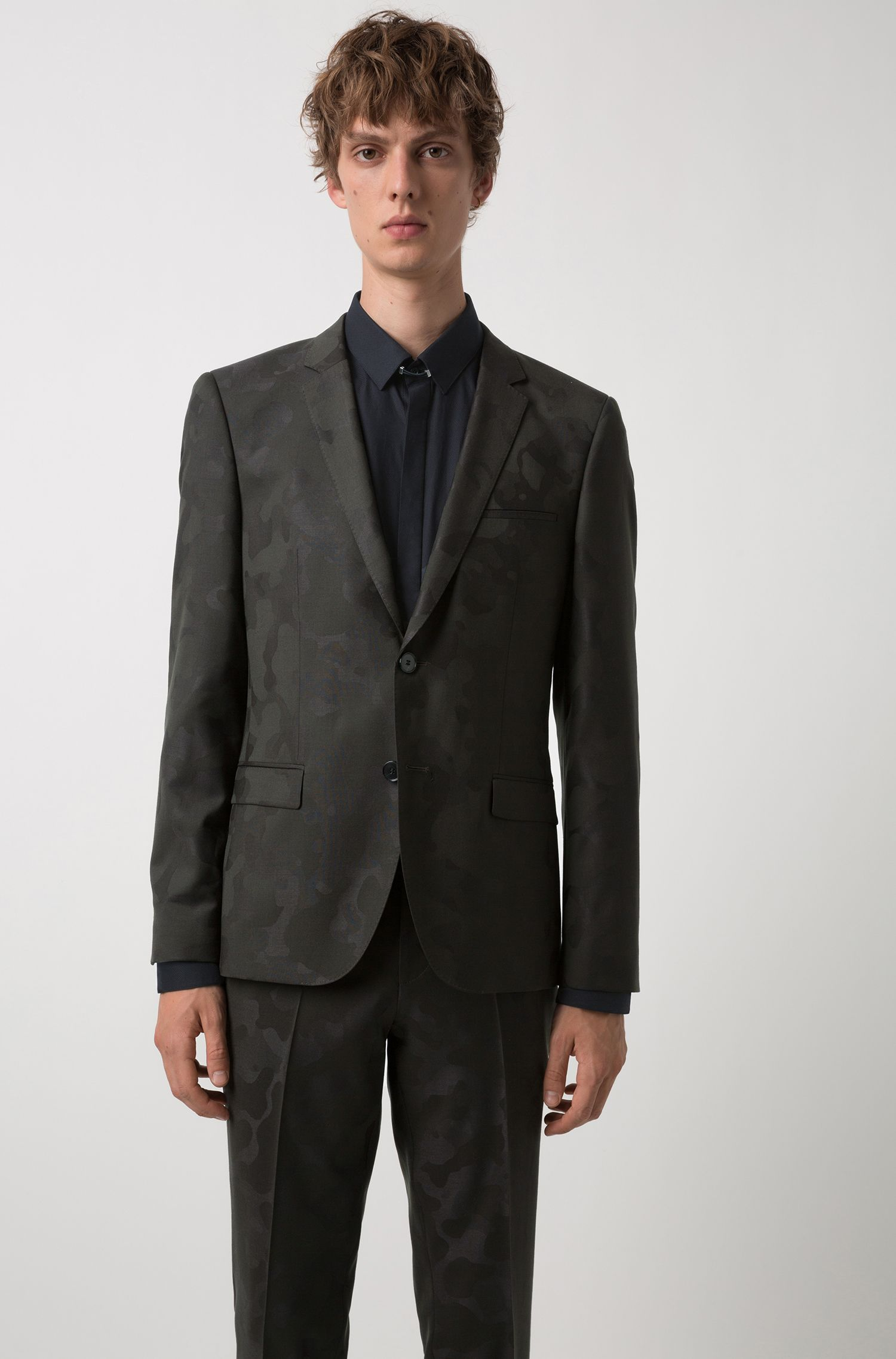 Extra-slim-fit suit in camouflage wool-blend jacquard, Dark Green
