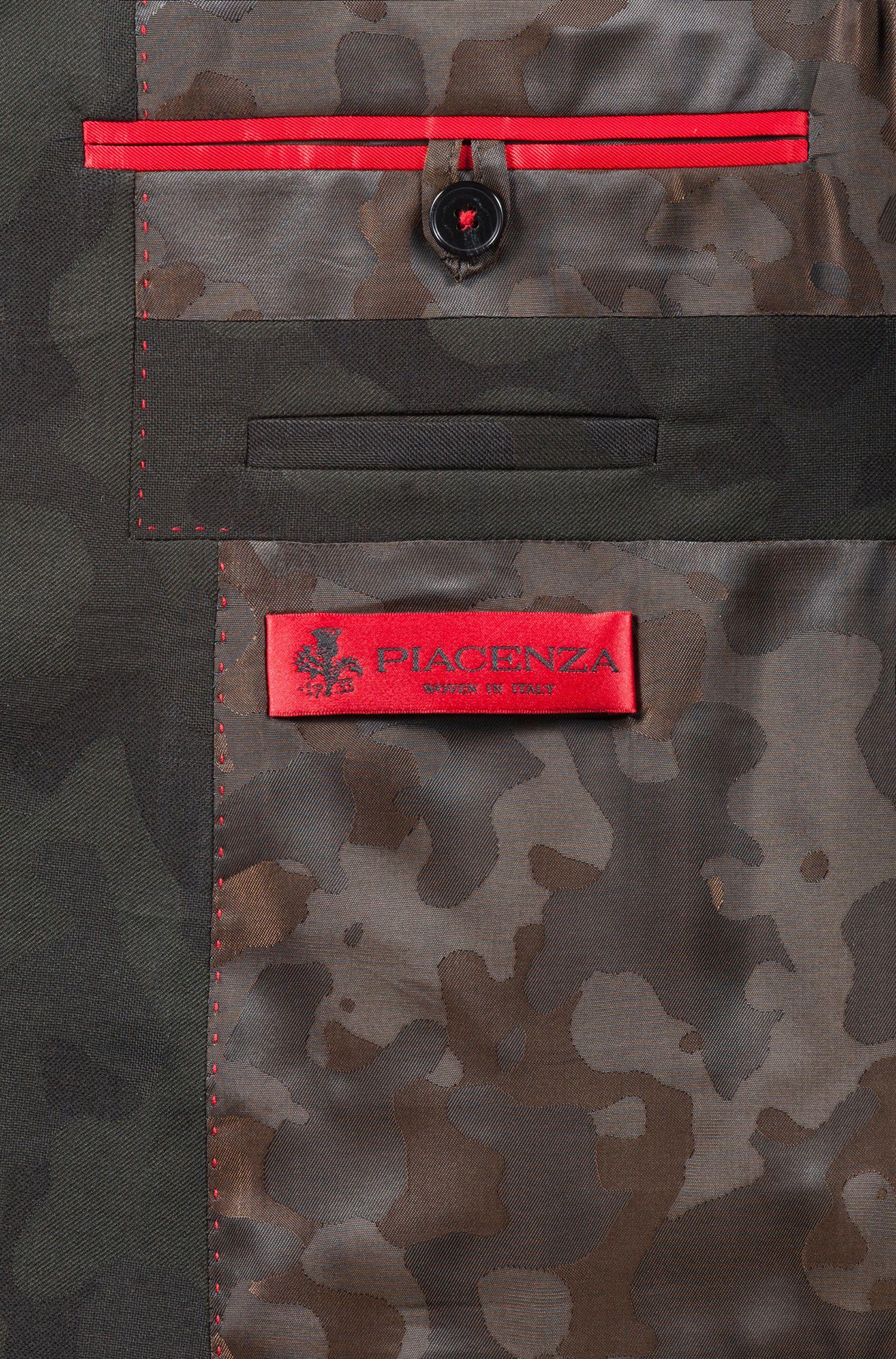Extra-slim-fit kostuum in een camouflagejacquard van een wolmix, Donkergroen
