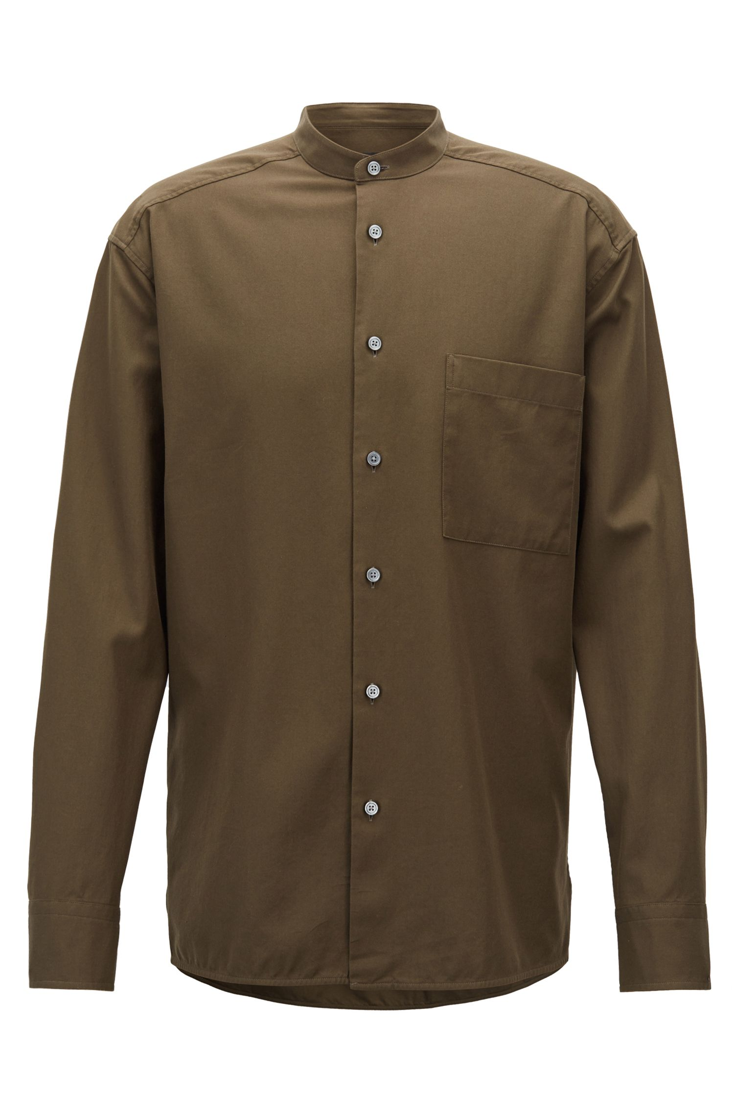 Relaxed-fit shirt in cotton twill with stand collar, Green