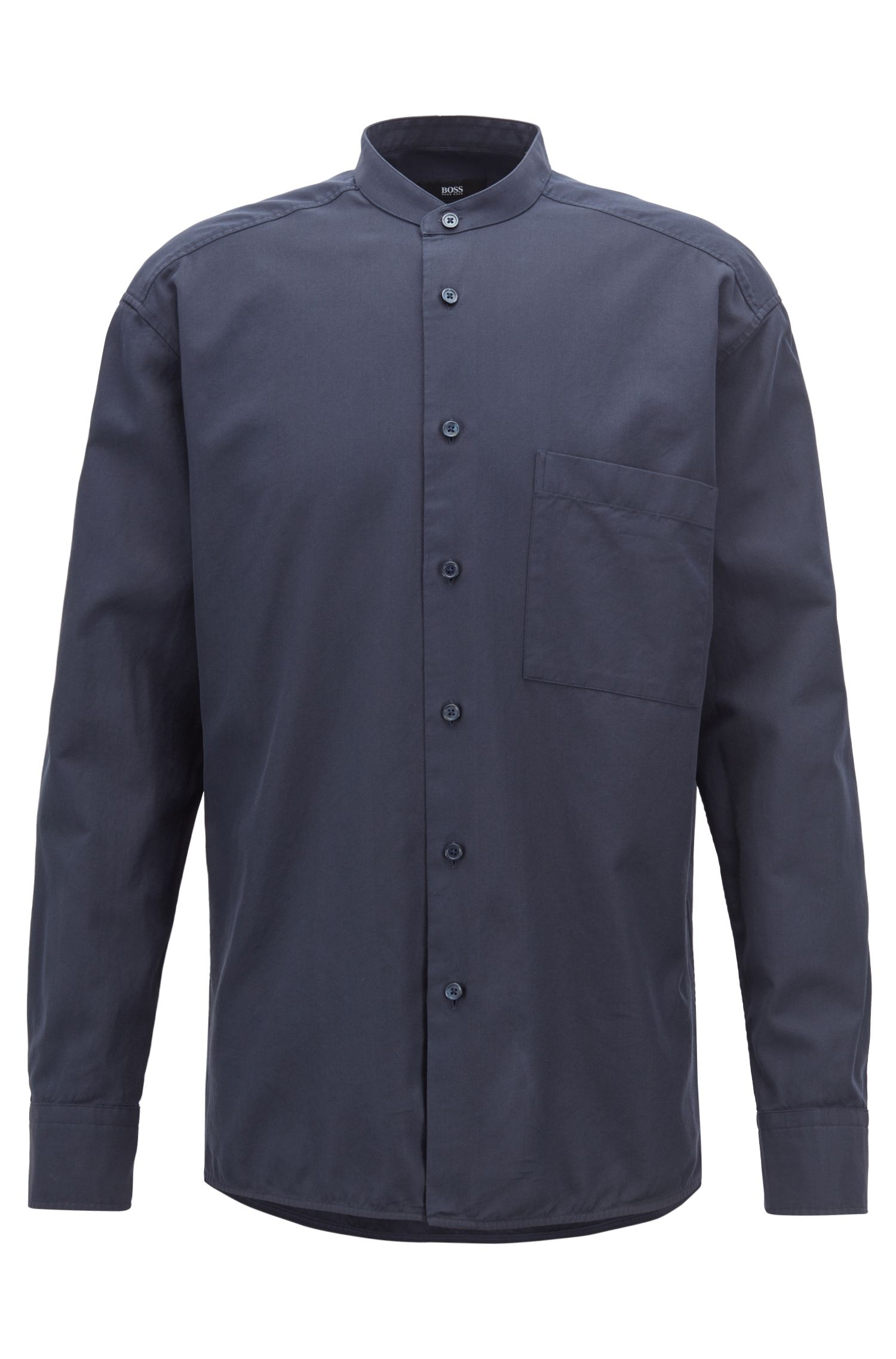 Relaxed-fit shirt in cotton twill with stand collar