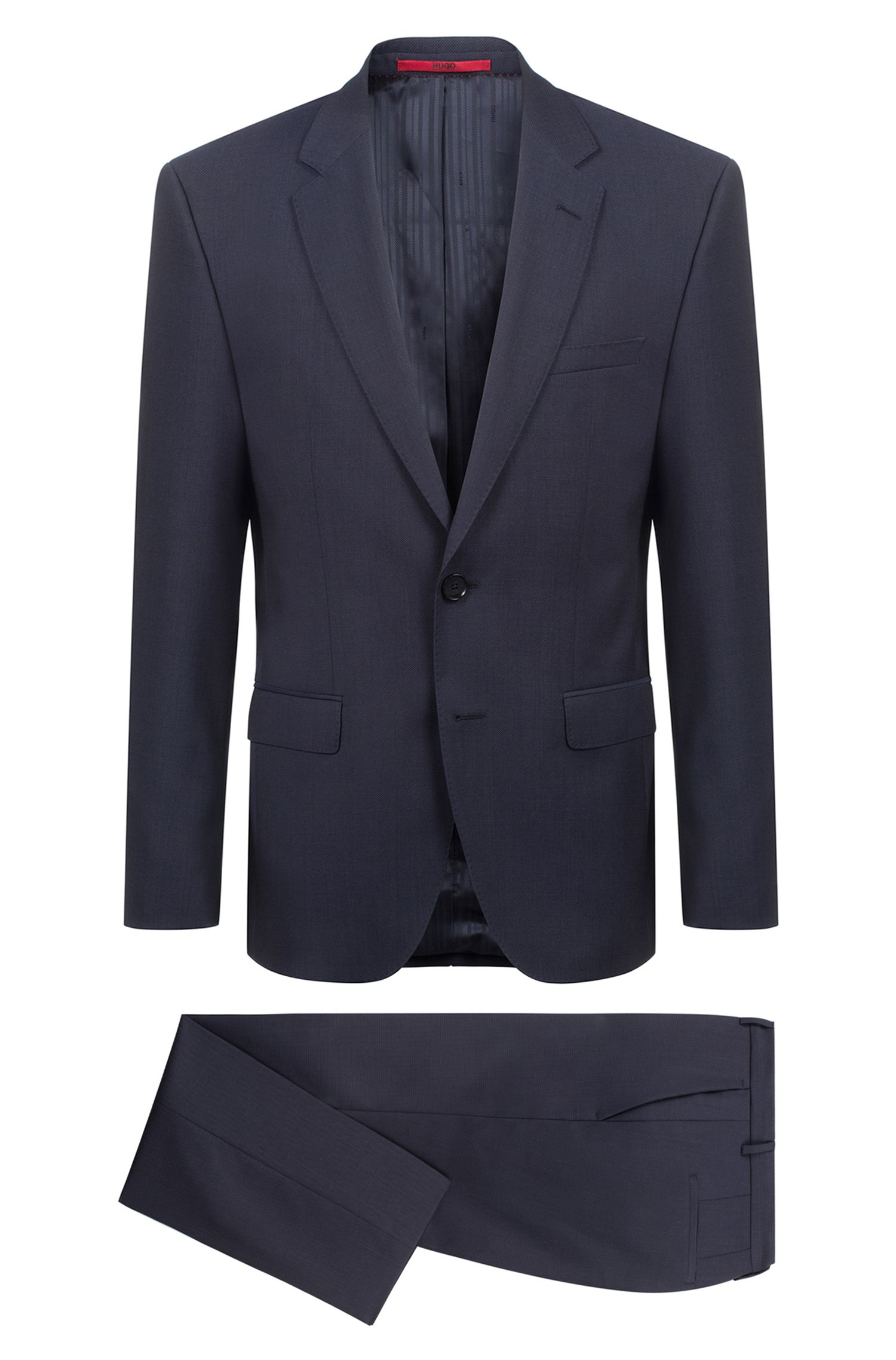 Micro-patterned suit in two-toned virgin wool, Dark Blue
