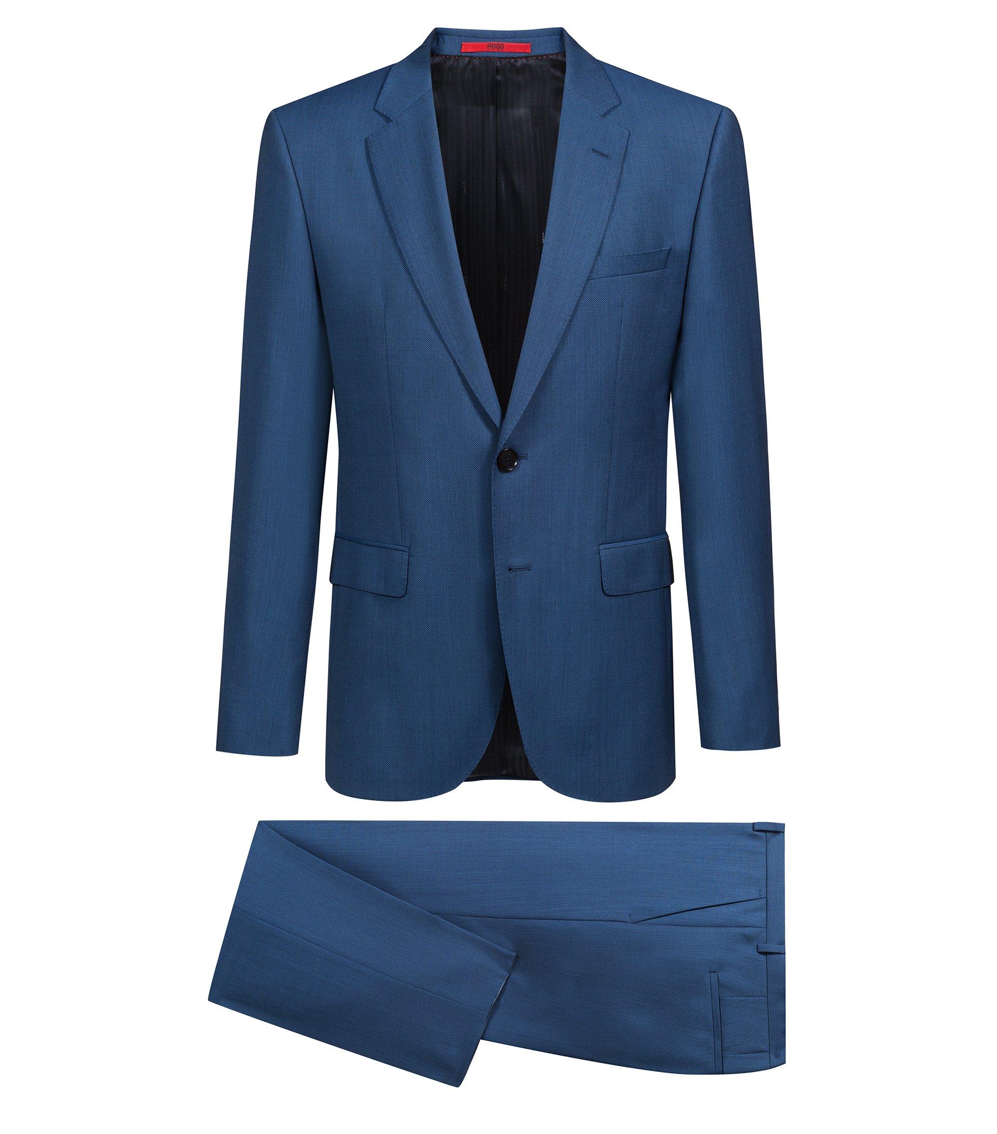 Costume en laine vierge bicolore à micro-motif, Bleu
