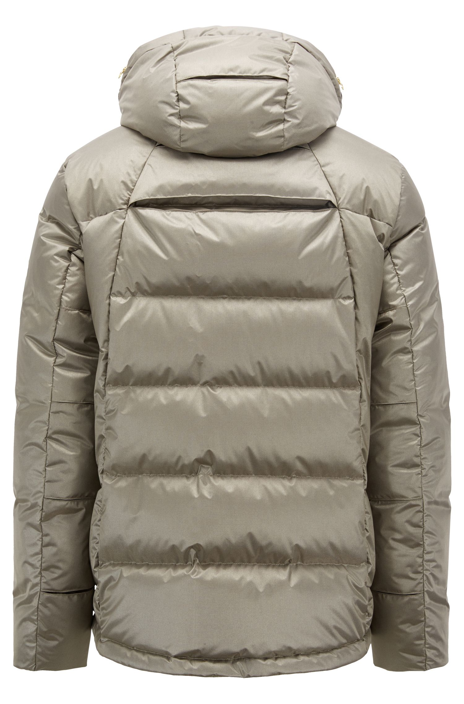 Metallic water-repellent down jacket with electromagnetic-wave blocker, Gold