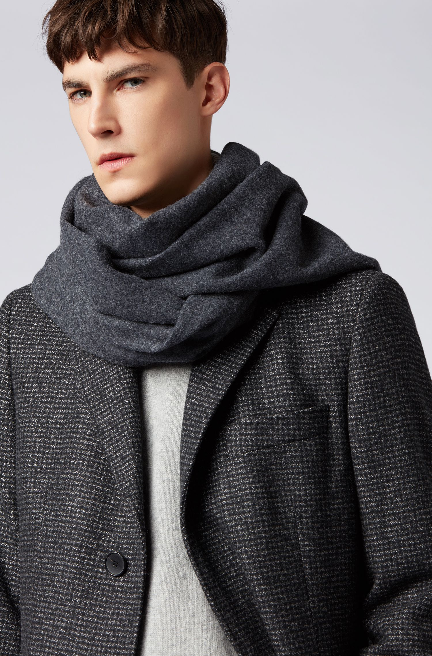 Oversized scarf in brushed lambswool with rolled fringes, Dark Grey