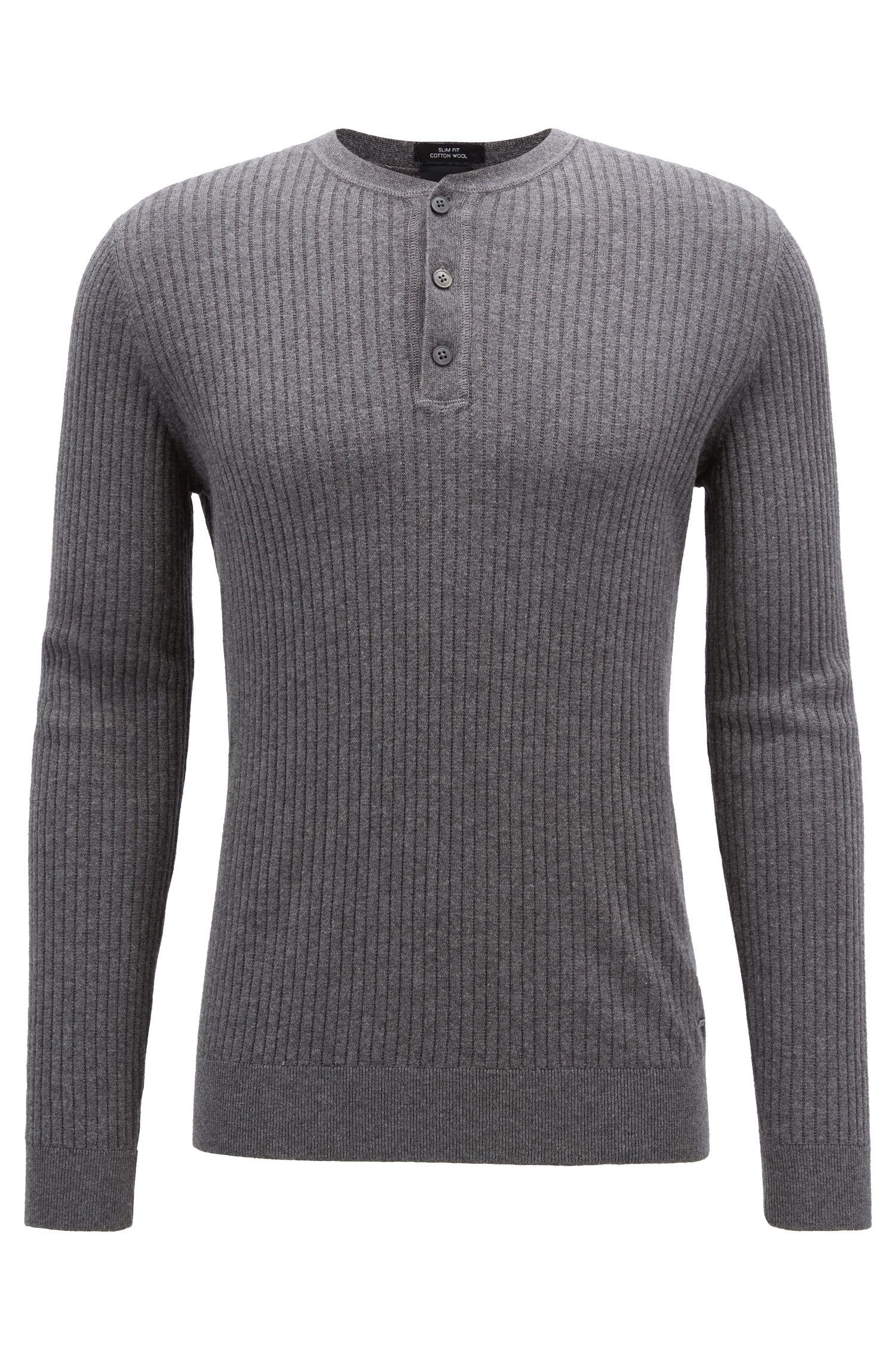Jersey Henley slim fit en mezcla de lana y algodón