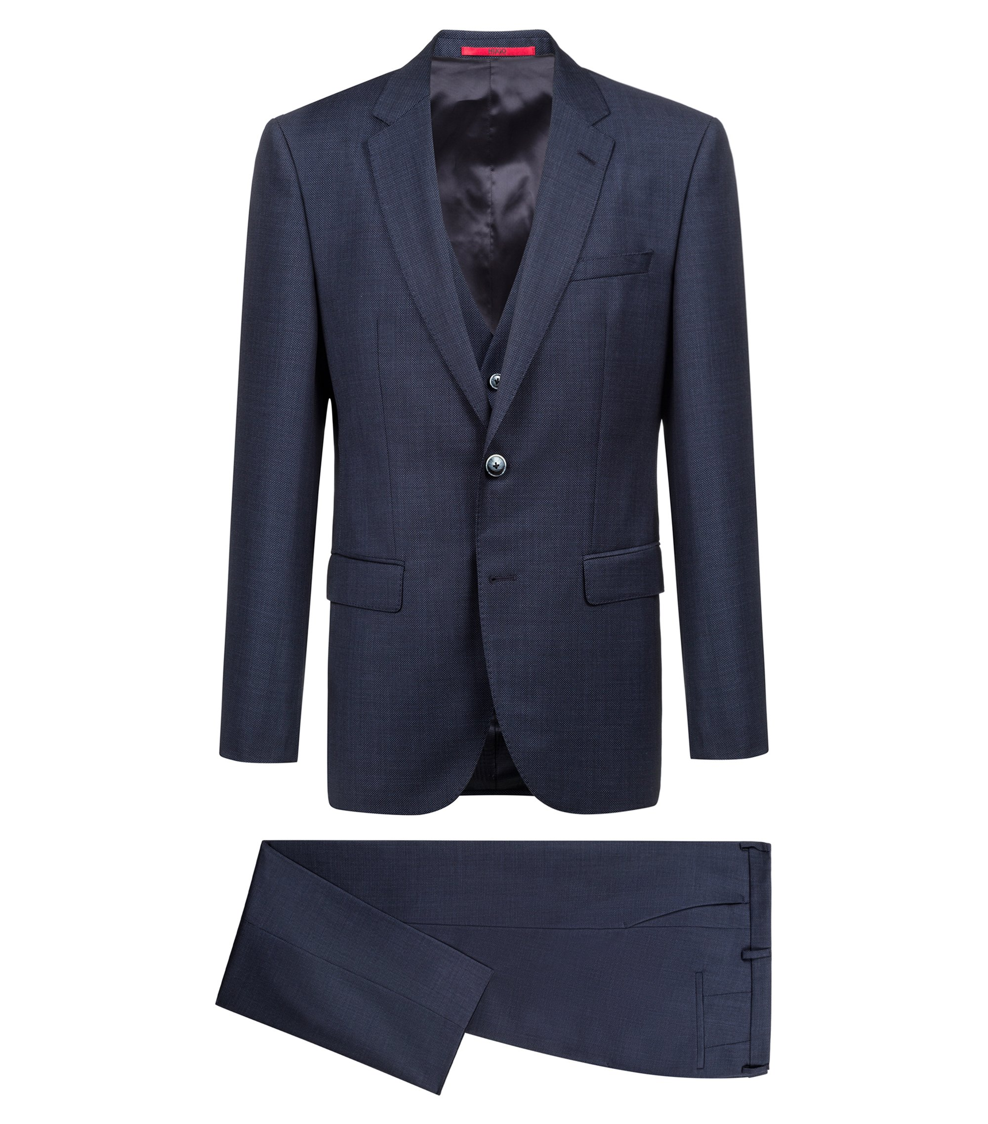 Three-piece suit in micro-patterned virgin wool serge, Dark Blue