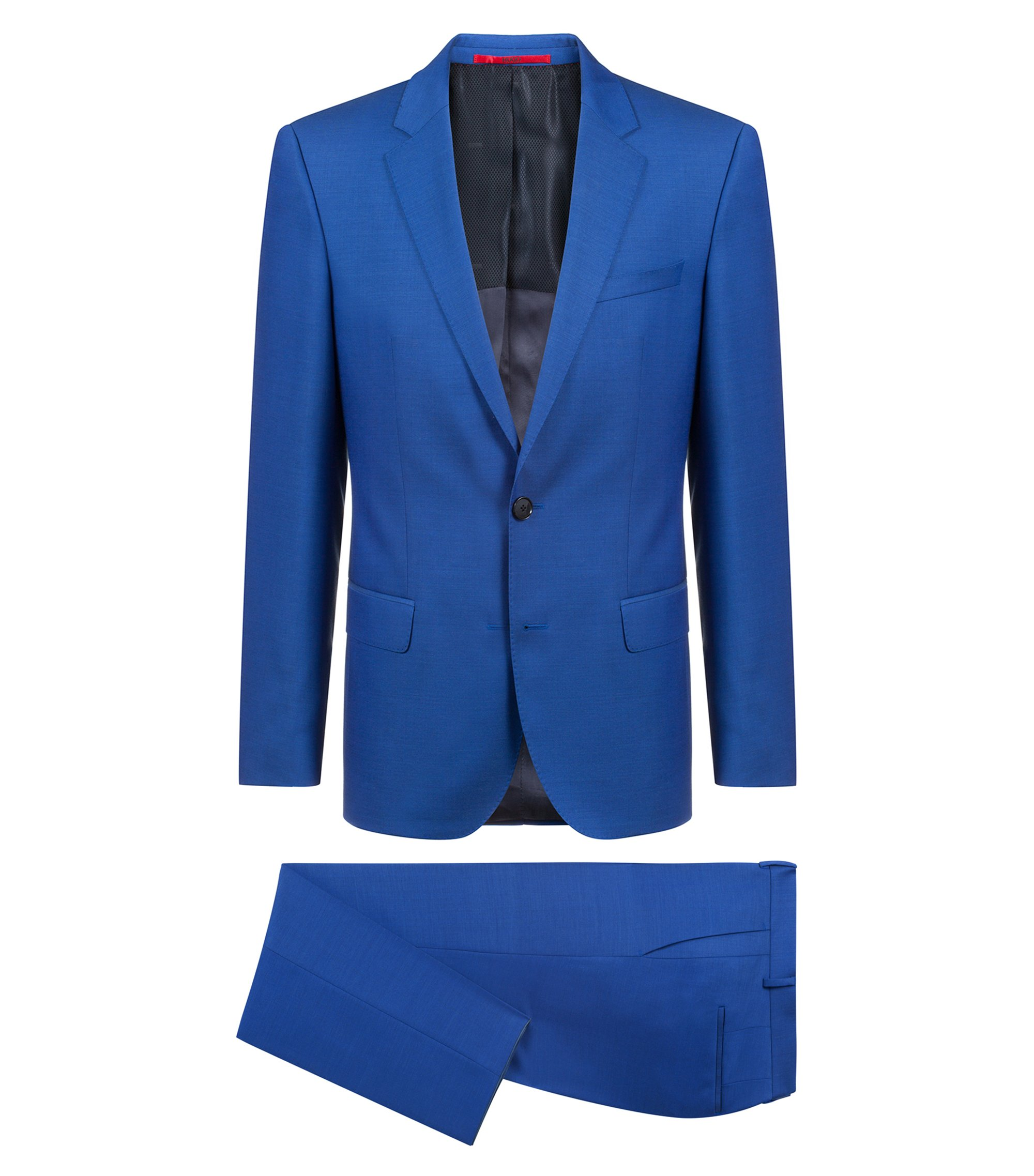 Slim-fit suit in textured Italian virgin wool, Blue