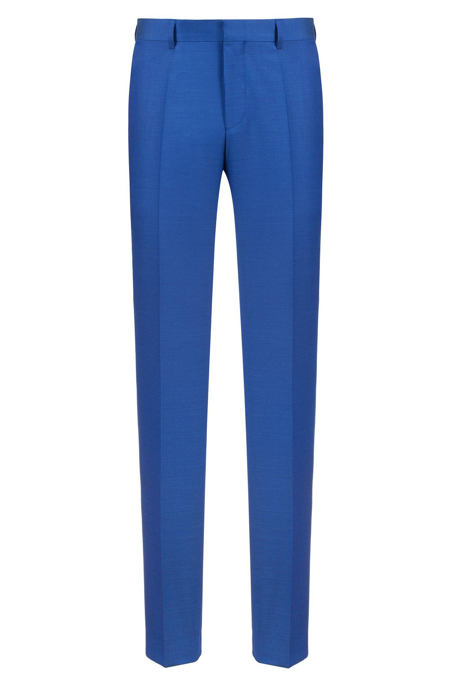 Costume Slim Fit en laine vierge italienne texturée, Bleu