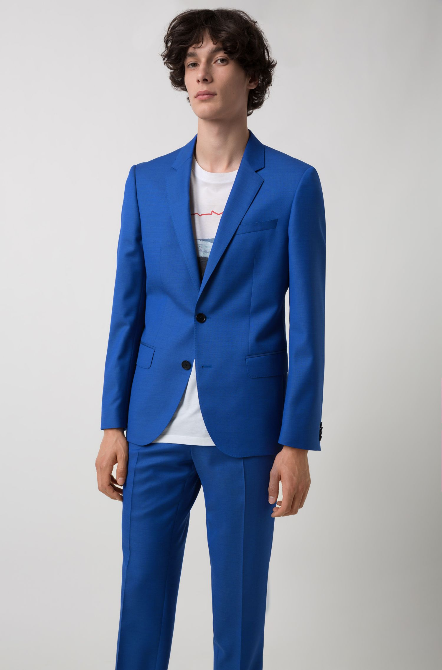 Slim-fit suit in textured Italian virgin wool, Blue