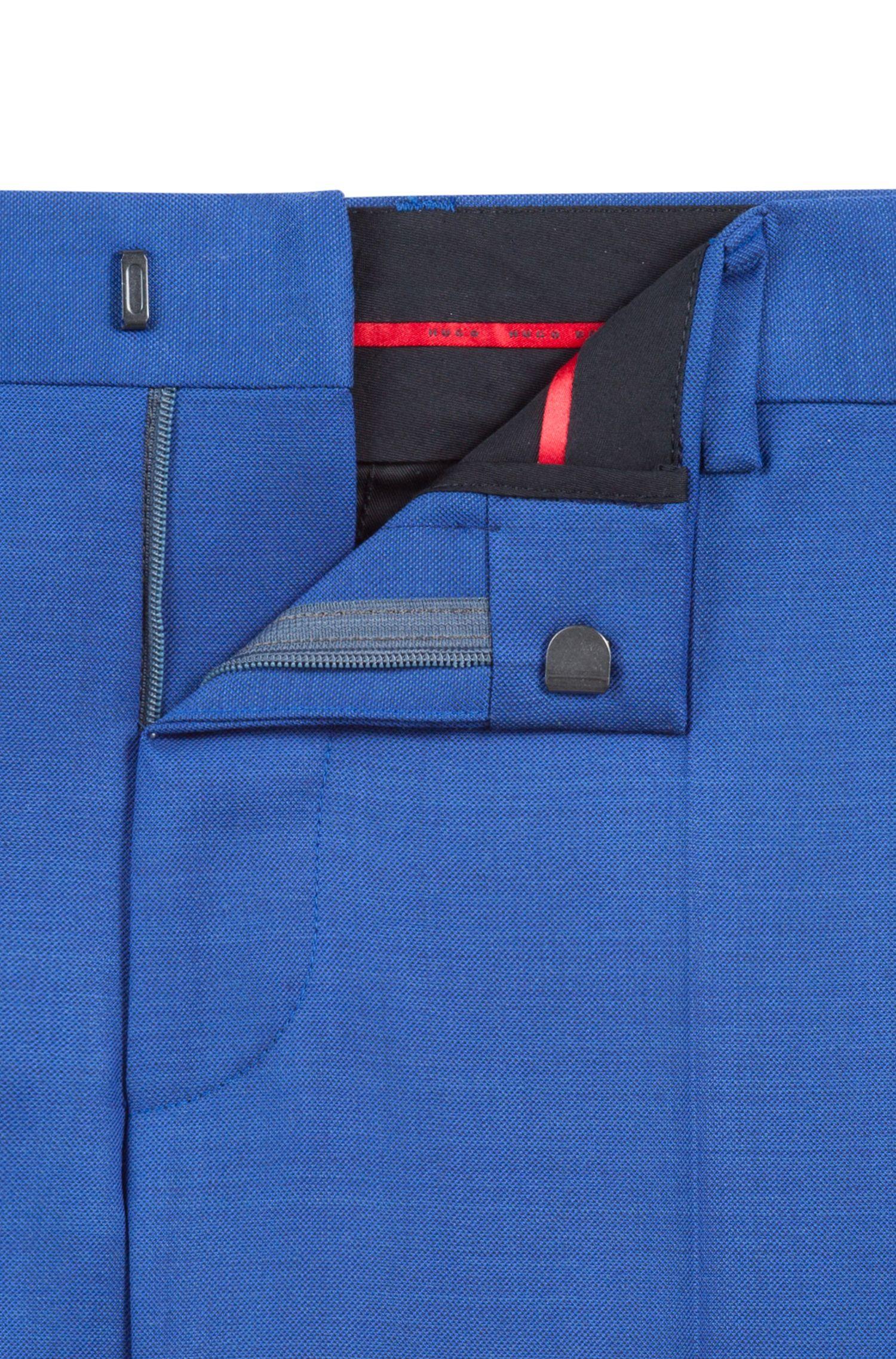 Slim-fit kostuum van gestructureerde Italiaanse scheerwol, Blauw