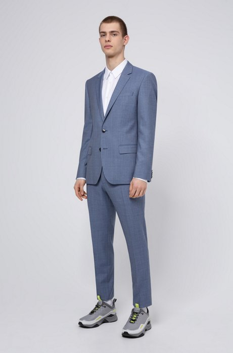 Slim-fit suit in textured Italian virgin wool, Turquoise
