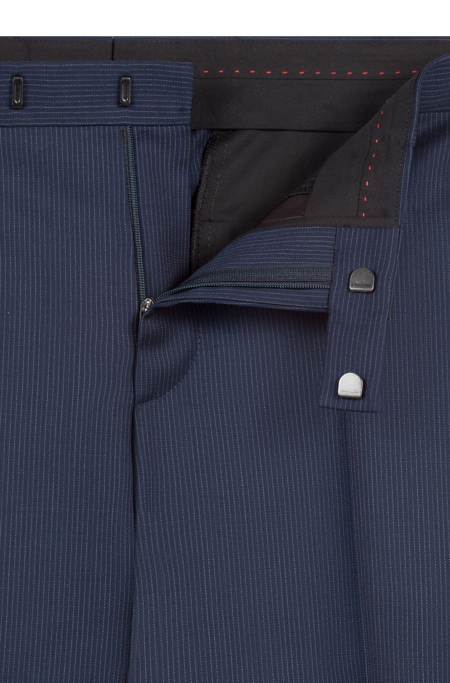 Regular-fit suit in pinstripe virgin wool serge, Dark Blue