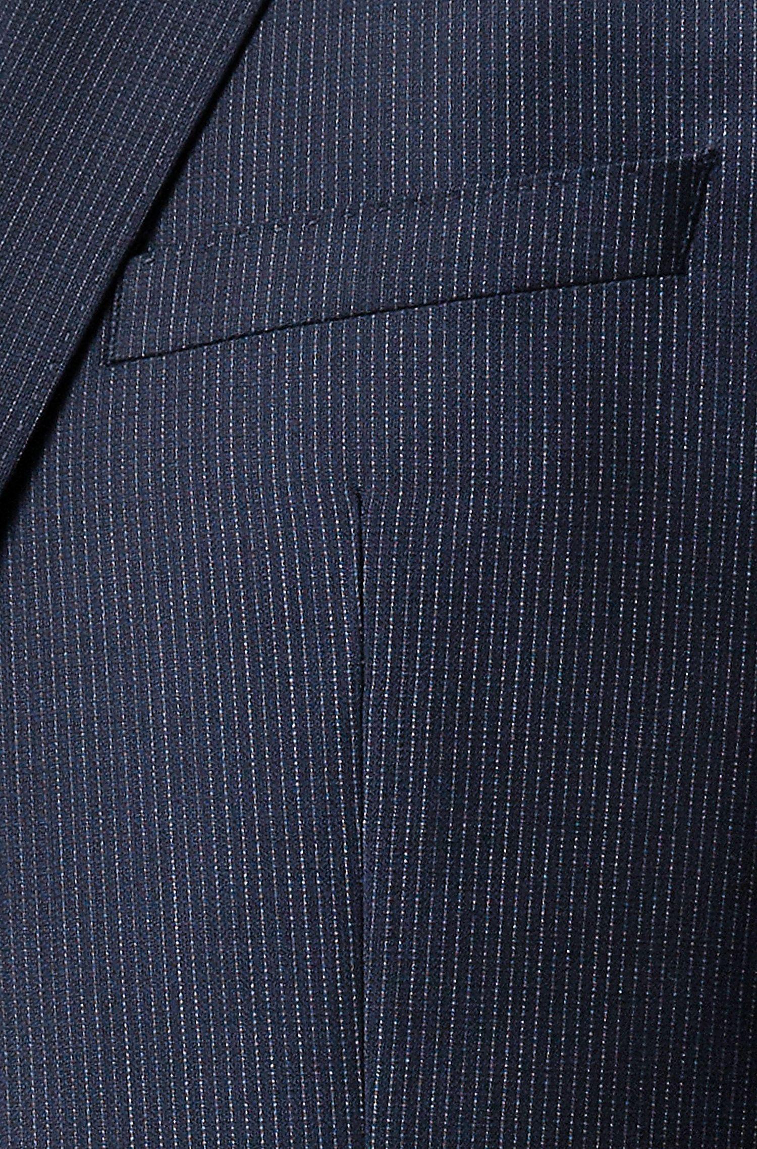 Regular-Fit Anzug aus Schurwoll-Serge mit Nadelstreifen, Dunkelblau