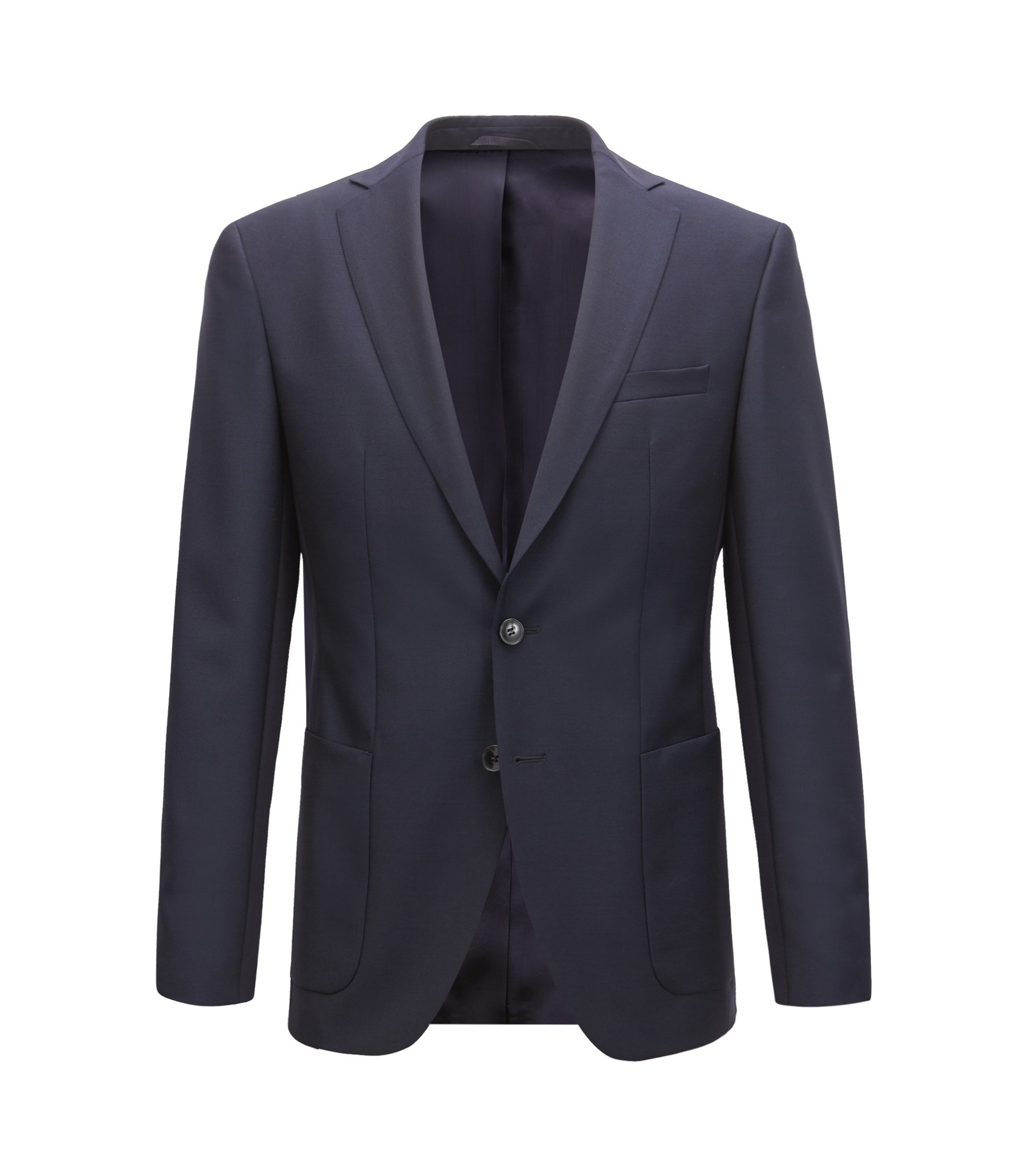 Blazer extra slim fit in lana vergine e mohair, Blu scuro