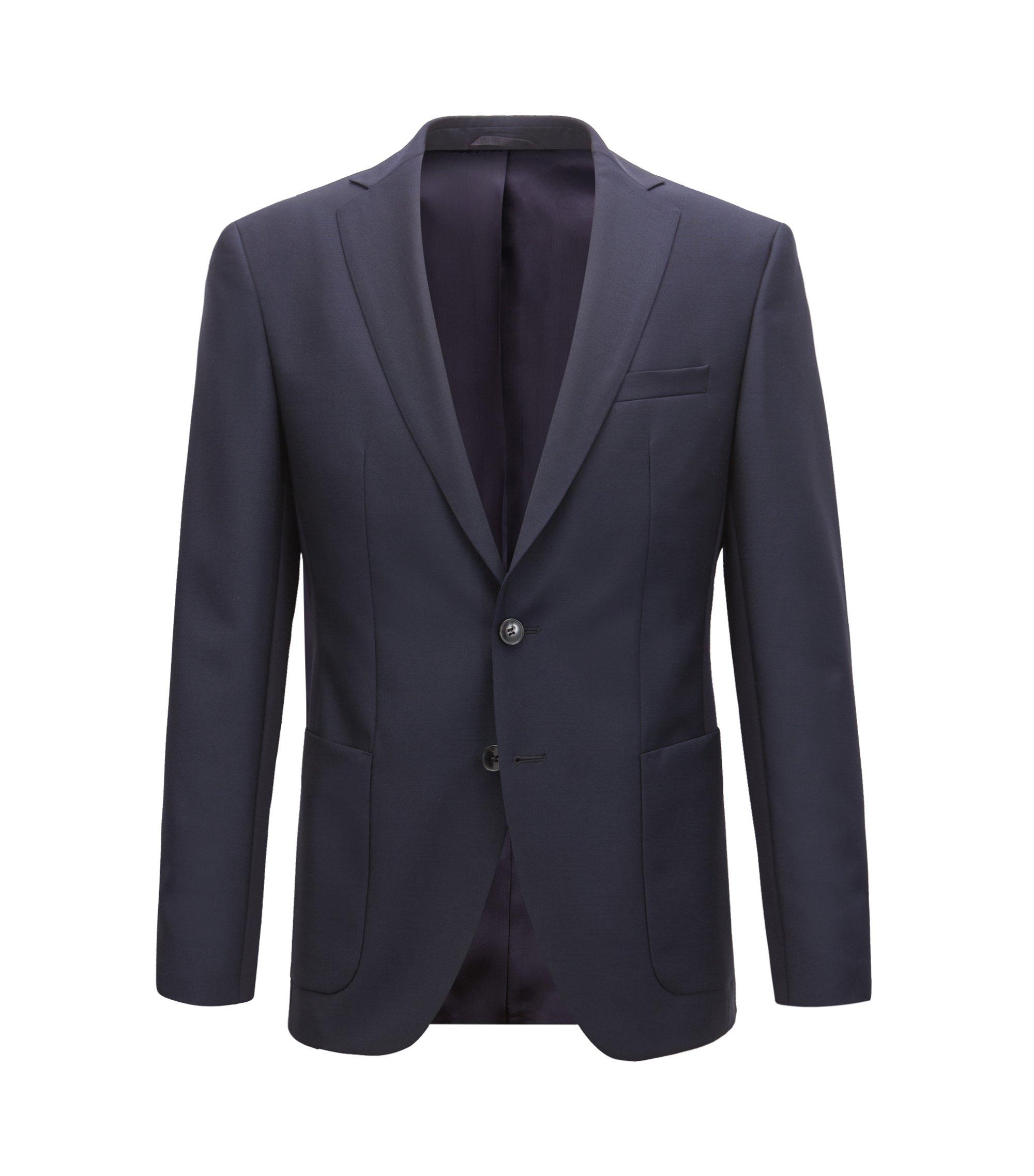 Blazer Extra Slim Fit en laine vierge et mohair, Bleu foncé