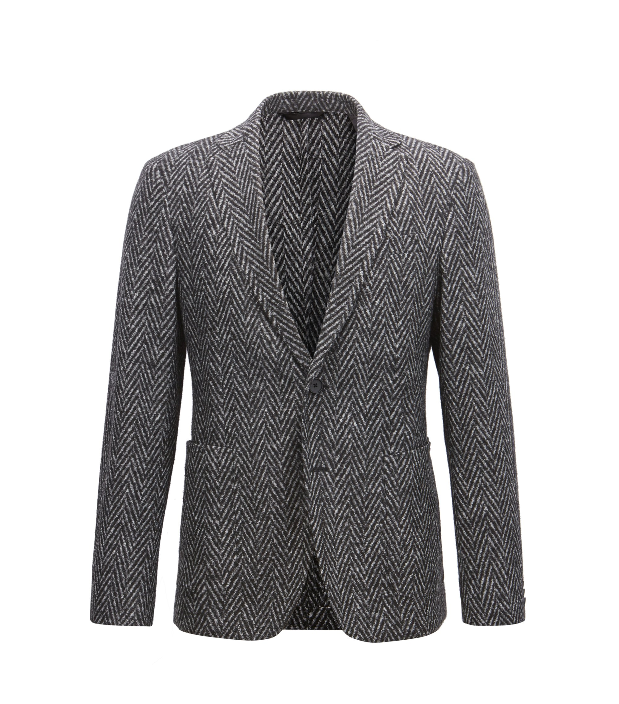 Slim-fit blazer in a herringbone weave, Grey