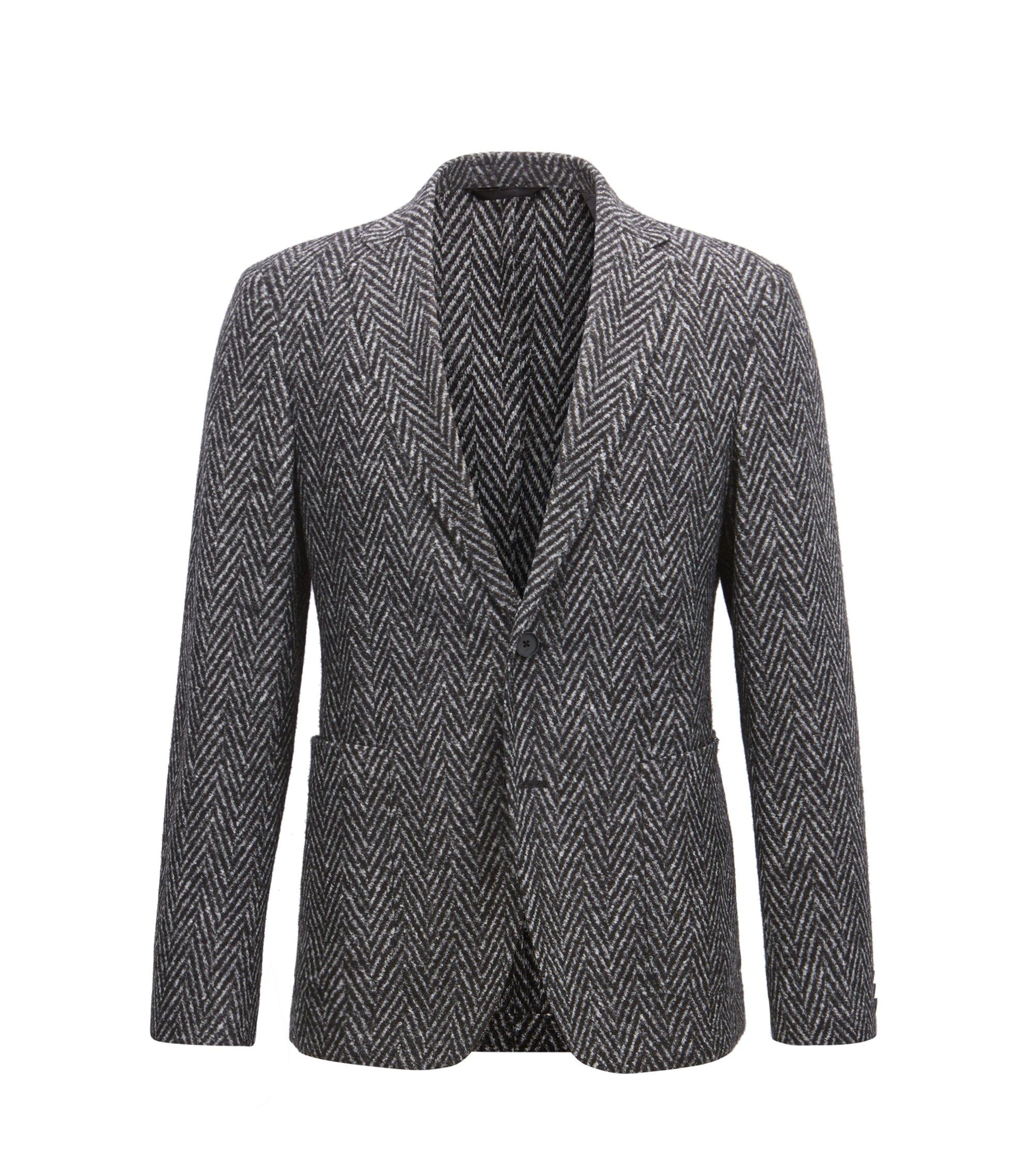 Slim-fit blazer met pied-de-poule-weefpatroon, Grijs