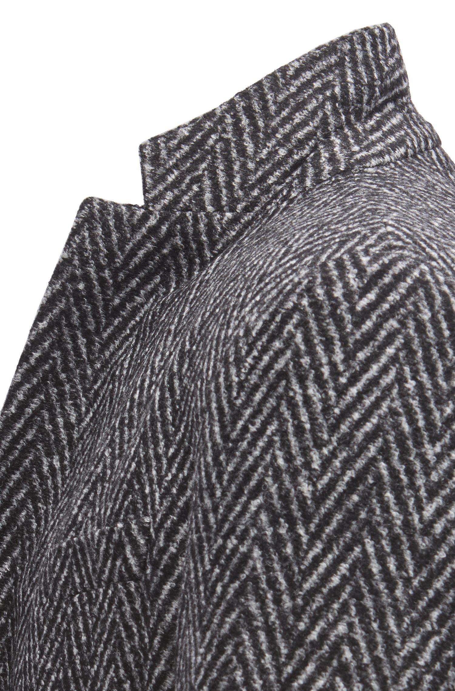 Slim-Fit Sakko aus Material-Mix mit Fischgrät-Webmuster, Grau