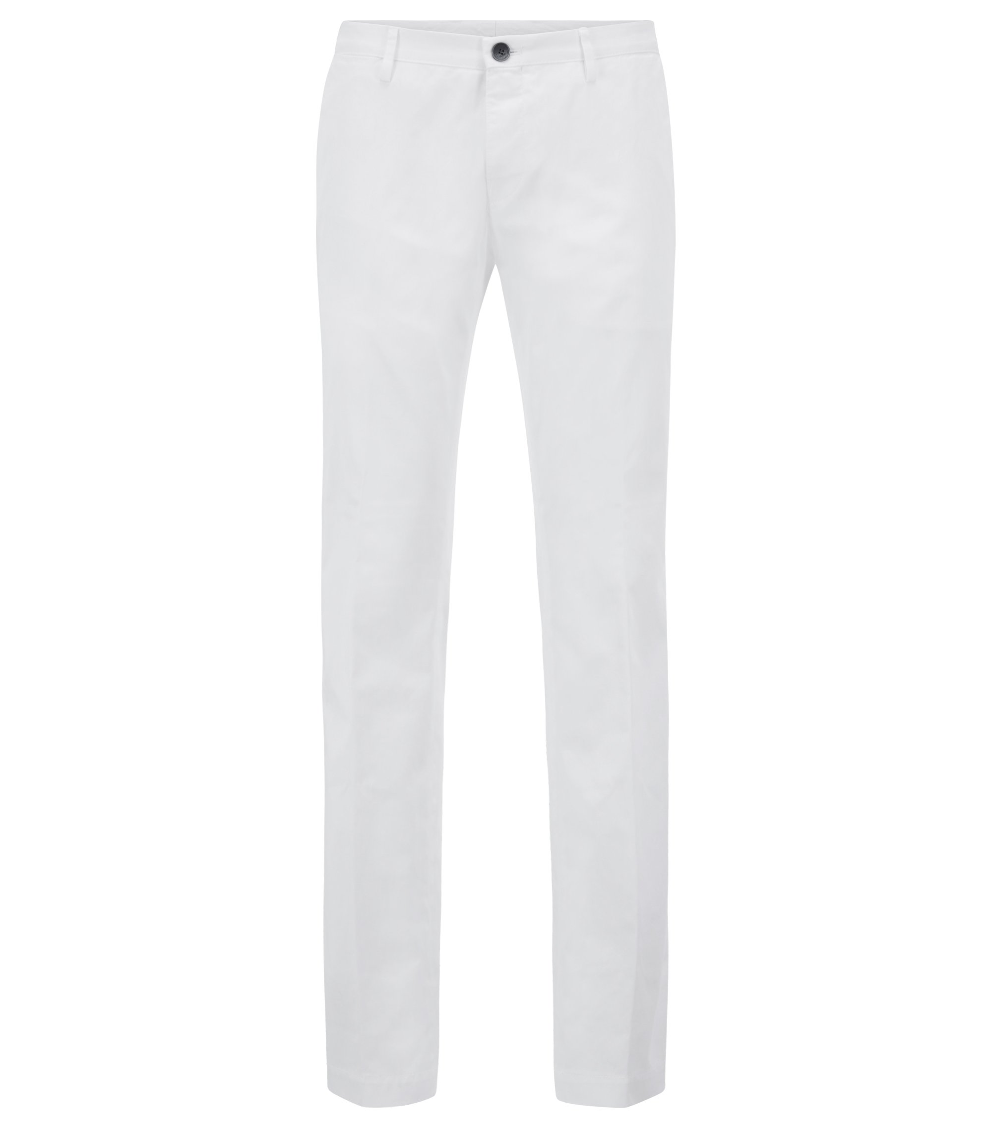 Slim-fit trousers in stretch cotton with inner piping, White