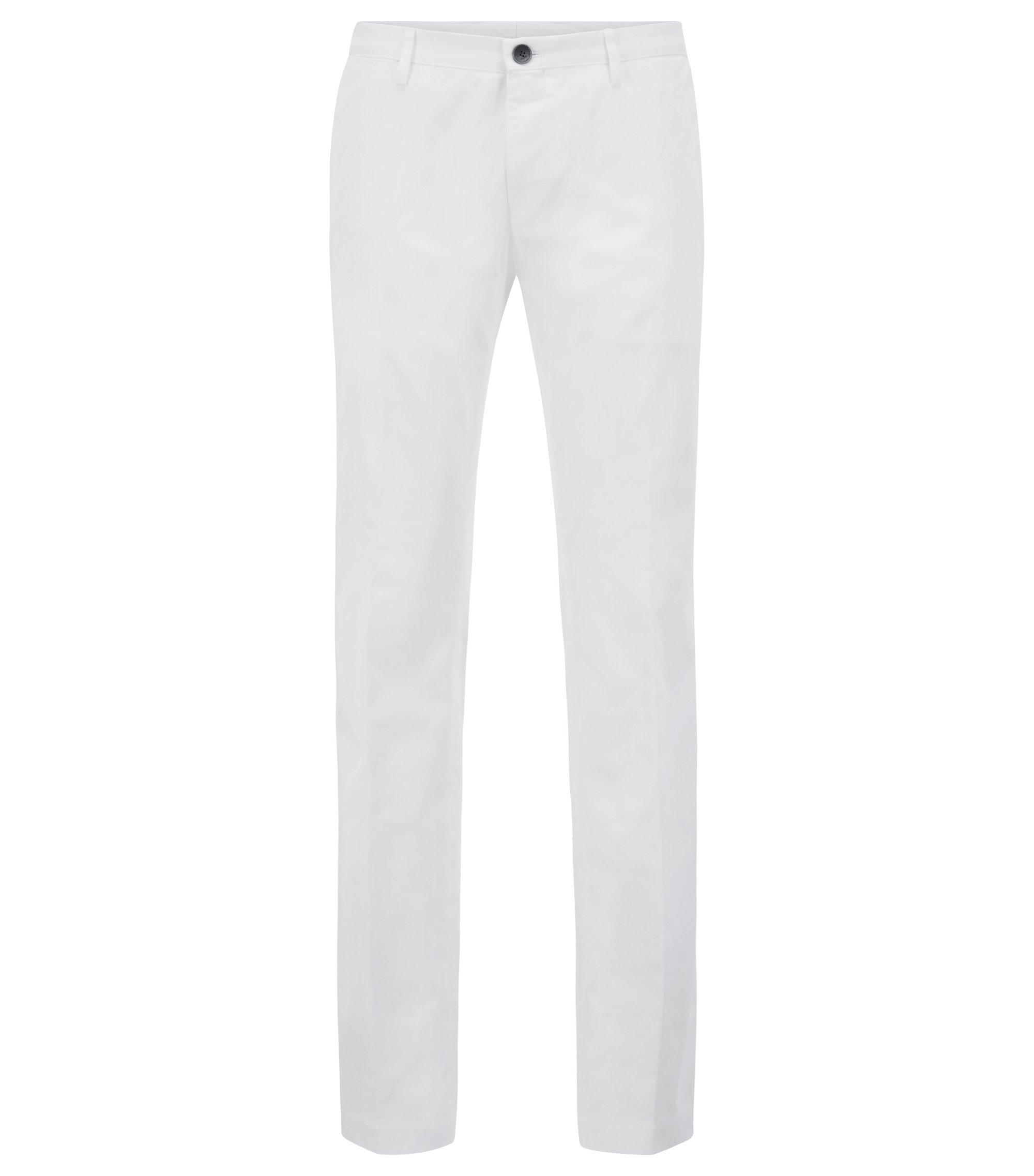 Slim-fit broek van stretchkatoen met bies aan de binnenzijde, Wit