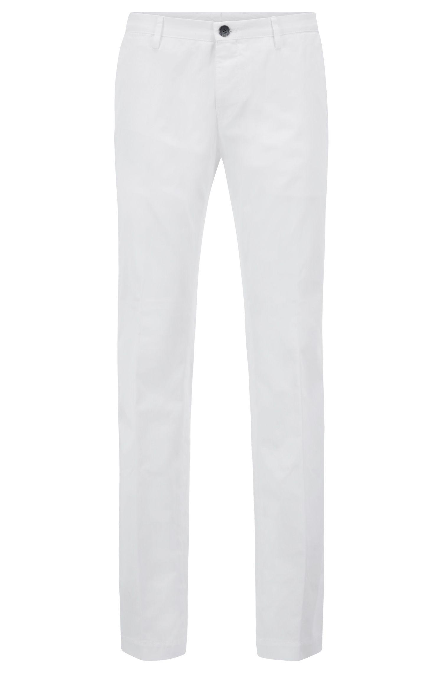 Pantalones slim fit en algodón elástico con ribetes internos, Blanco
