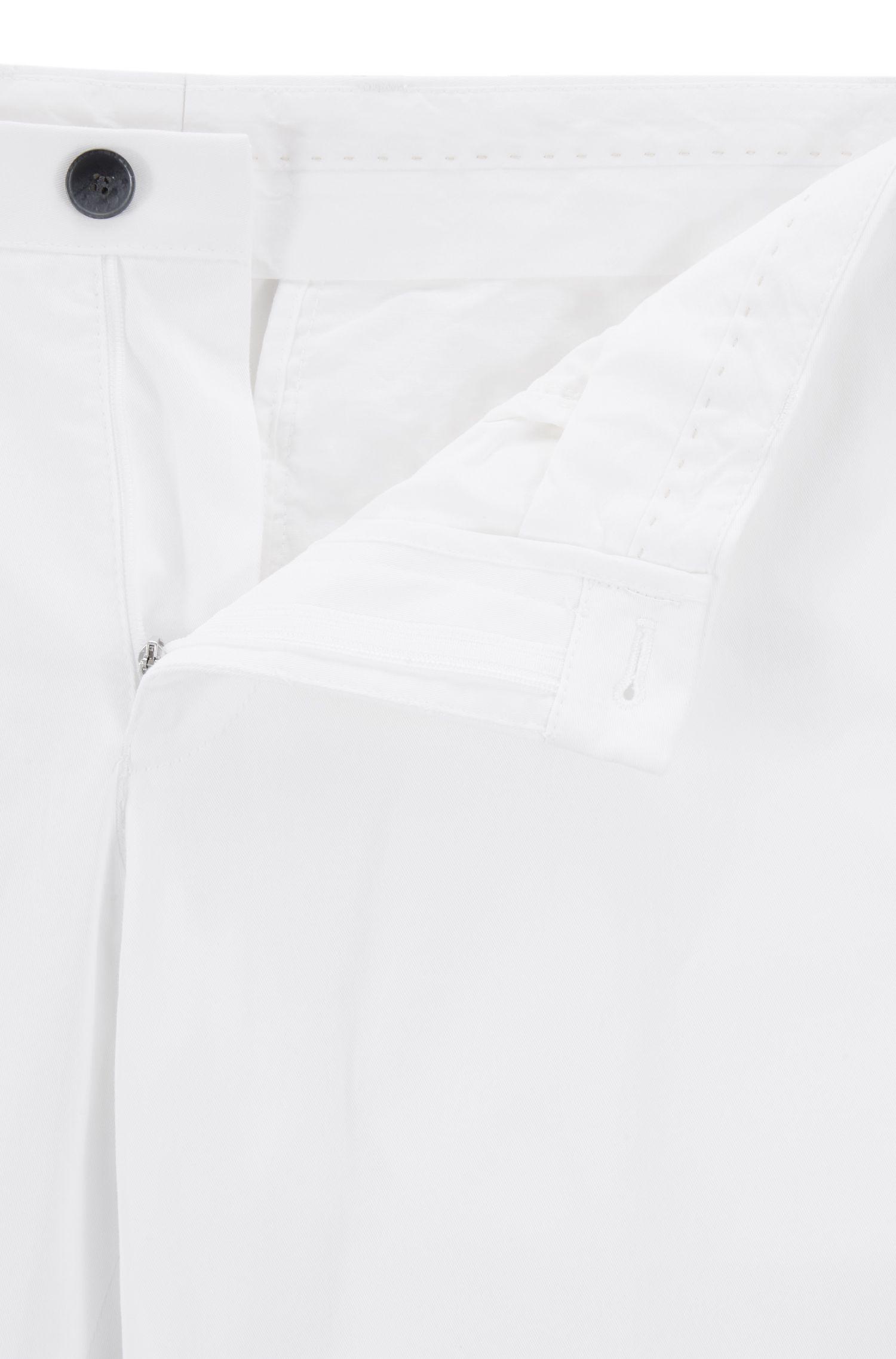 Pantalon Slim Fit en coton stretch avec passepoil intérieur, Blanc