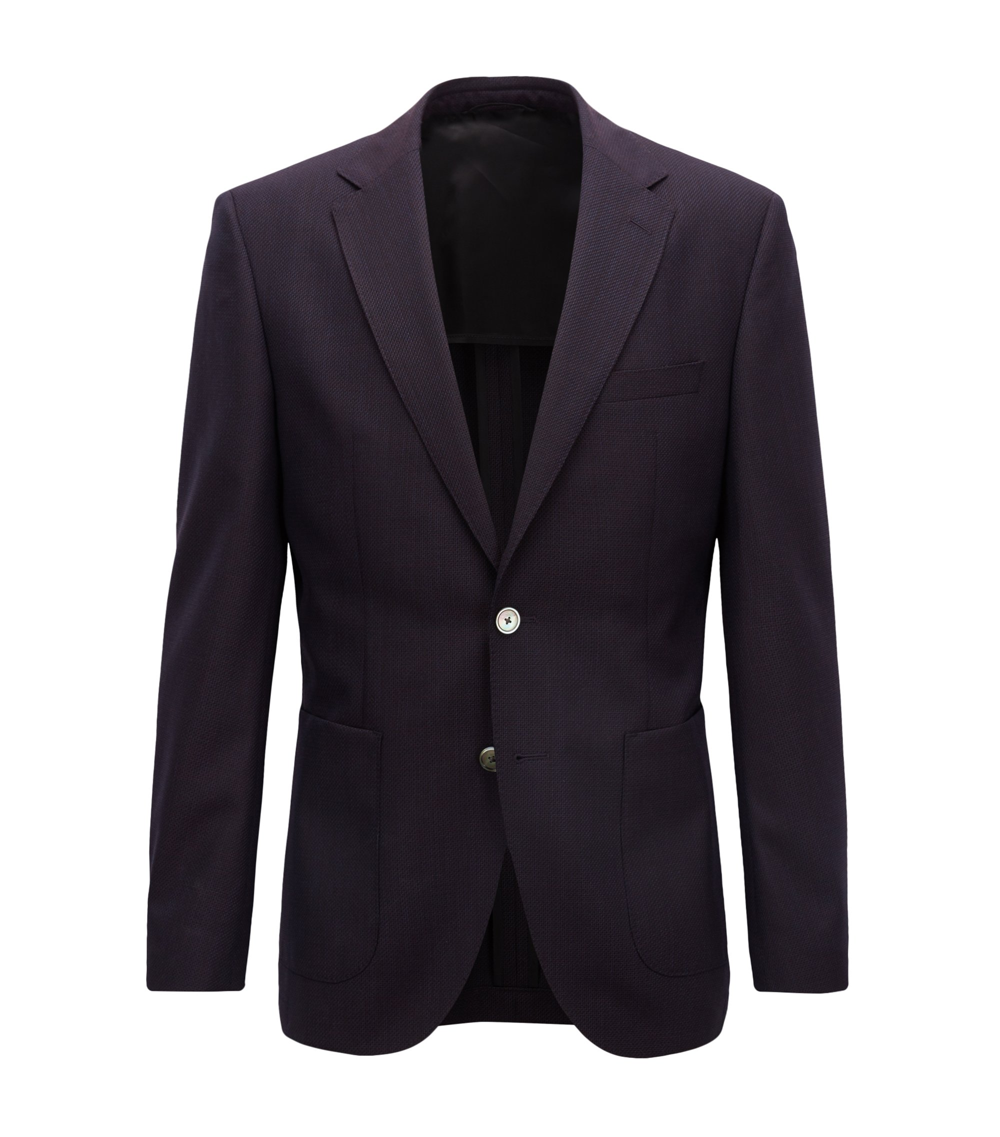 Blazer regular fit en lana virgen estampada, Rojo oscuro