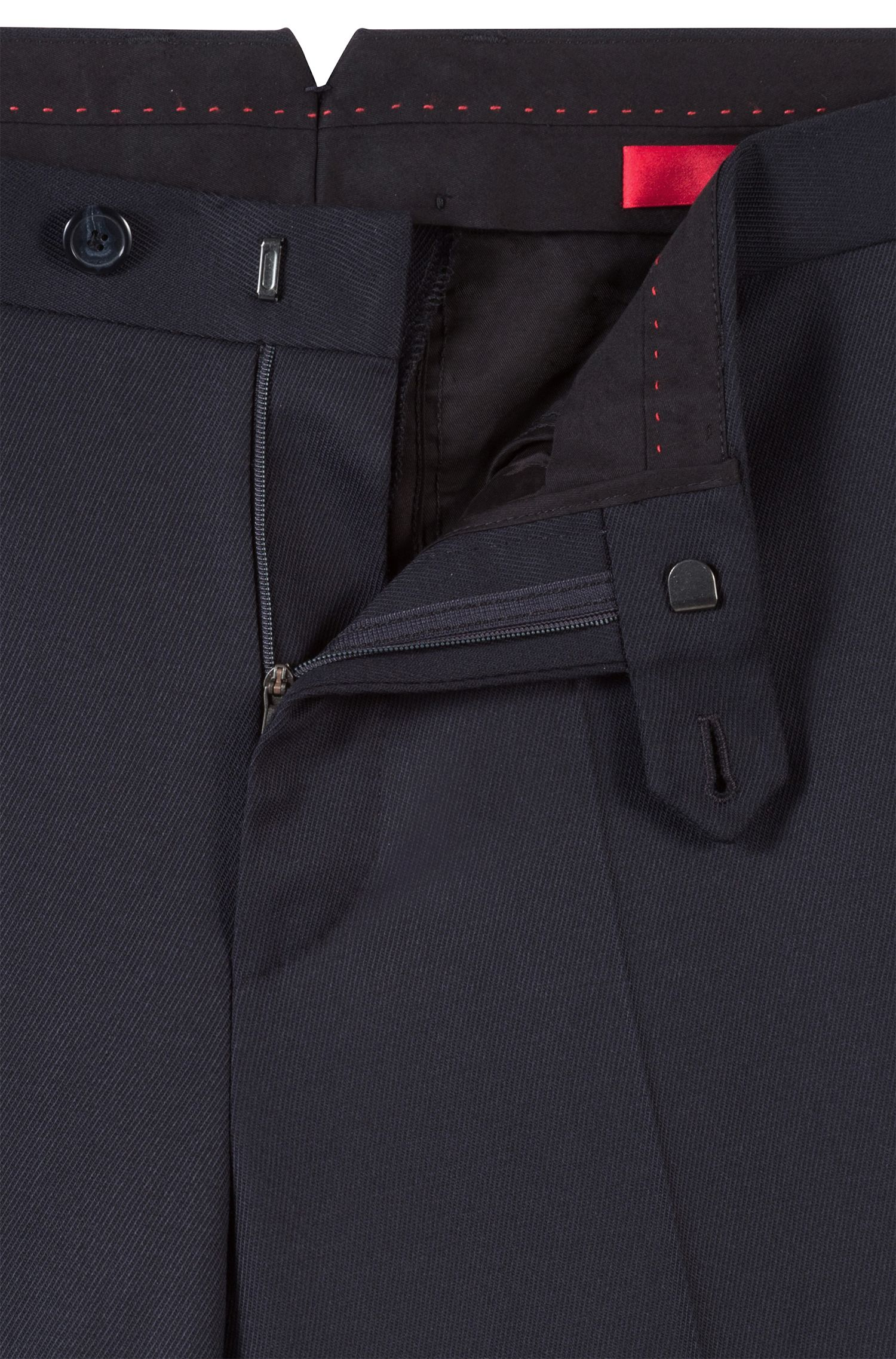Tapered-fit trousers in a structured stretch-wool blend, Dark Blue