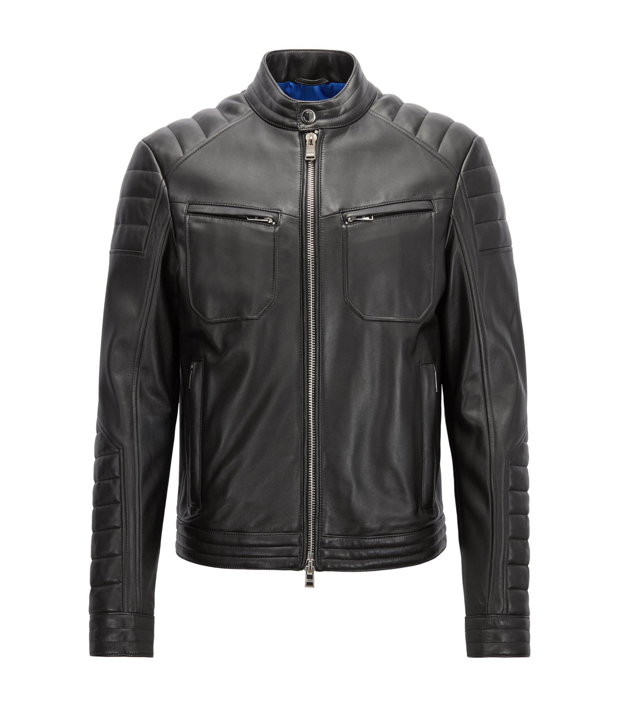 Regular-fit biker jacket in lambskin with padded detailing, Black