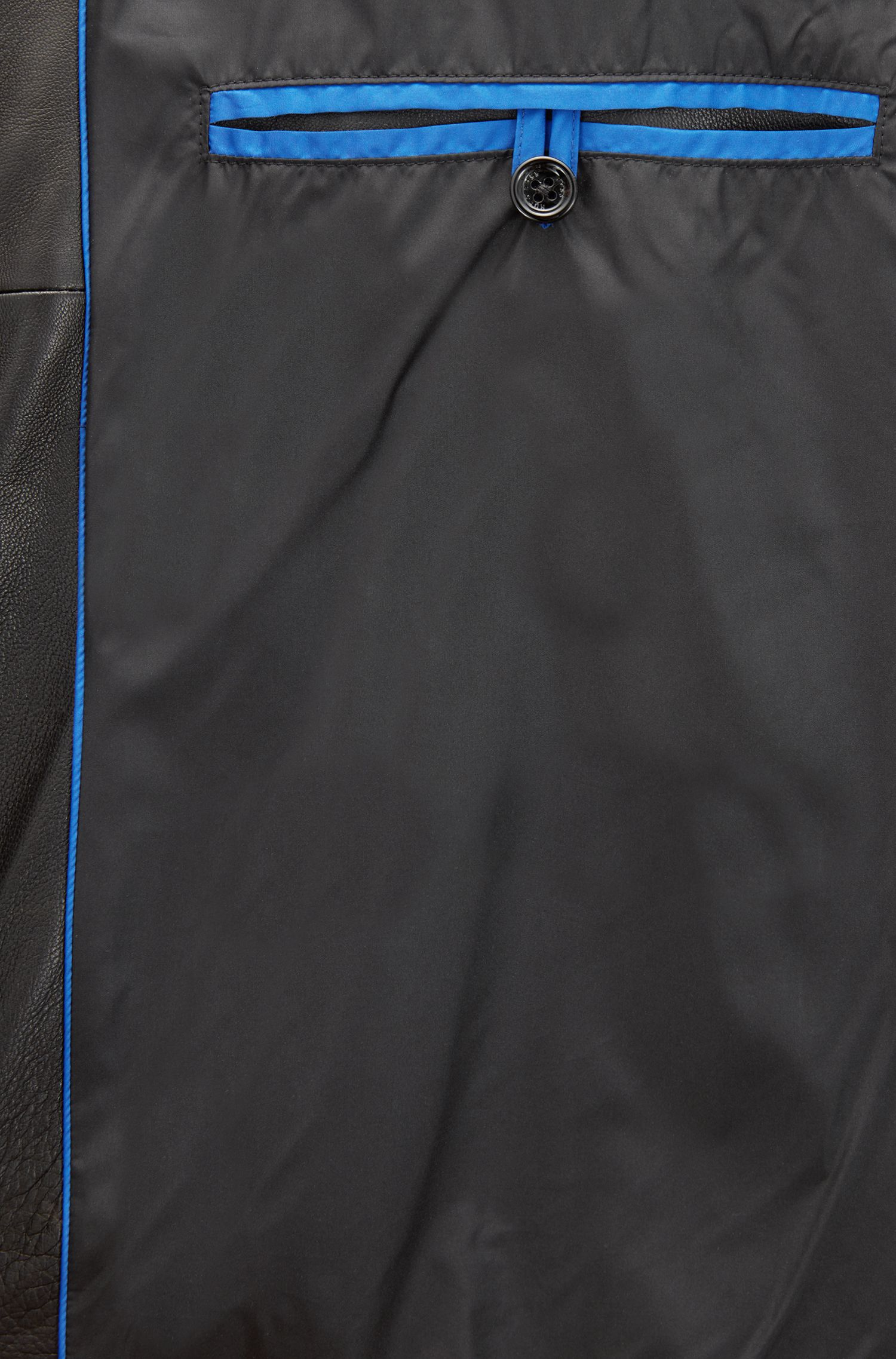 Bikerjacke aus Leder mit wattierten Details, Schwarz