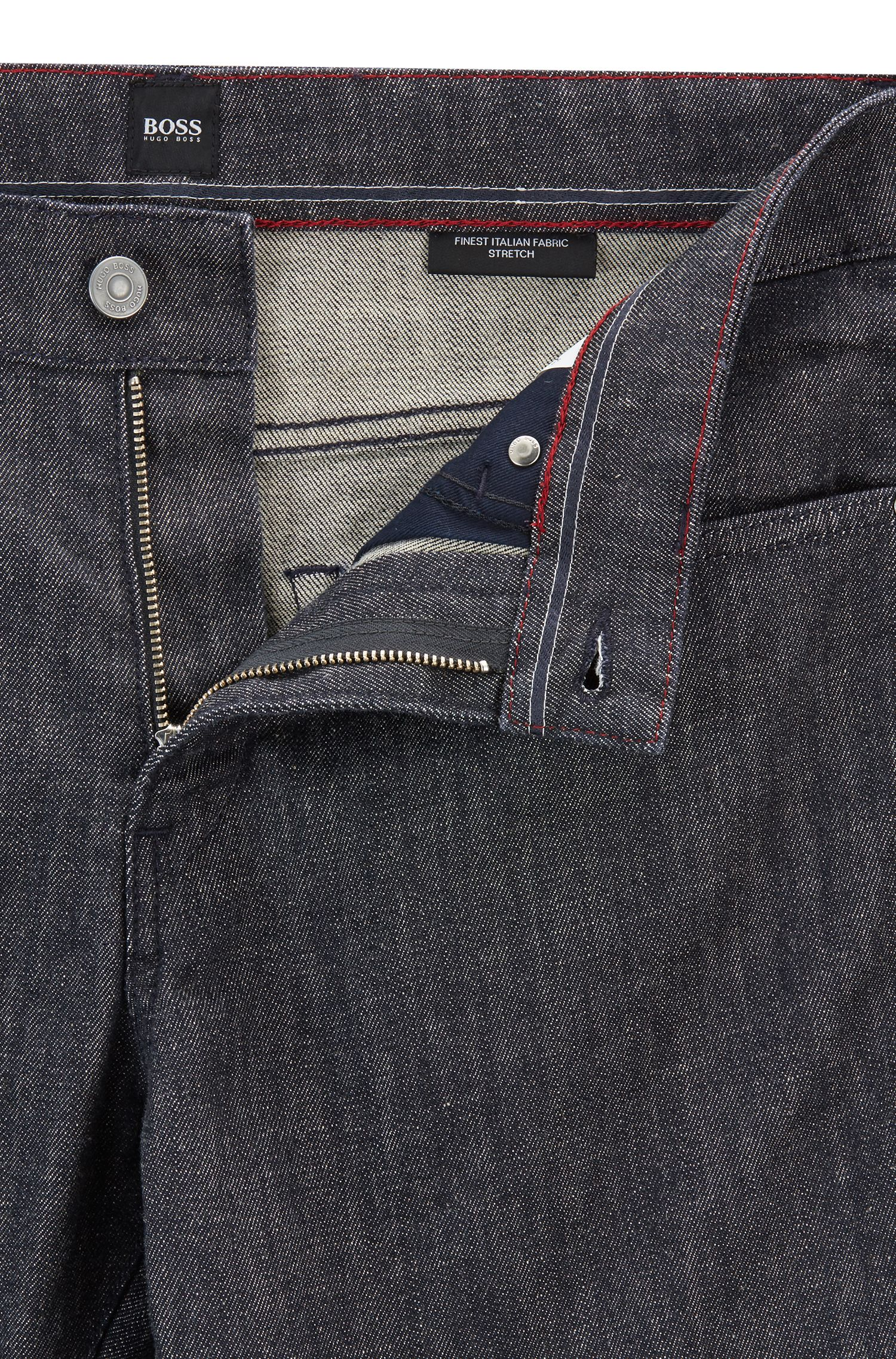 Jeans slim fit in denim elasticizzato Stay Dark realizzato in Italia, Blu scuro