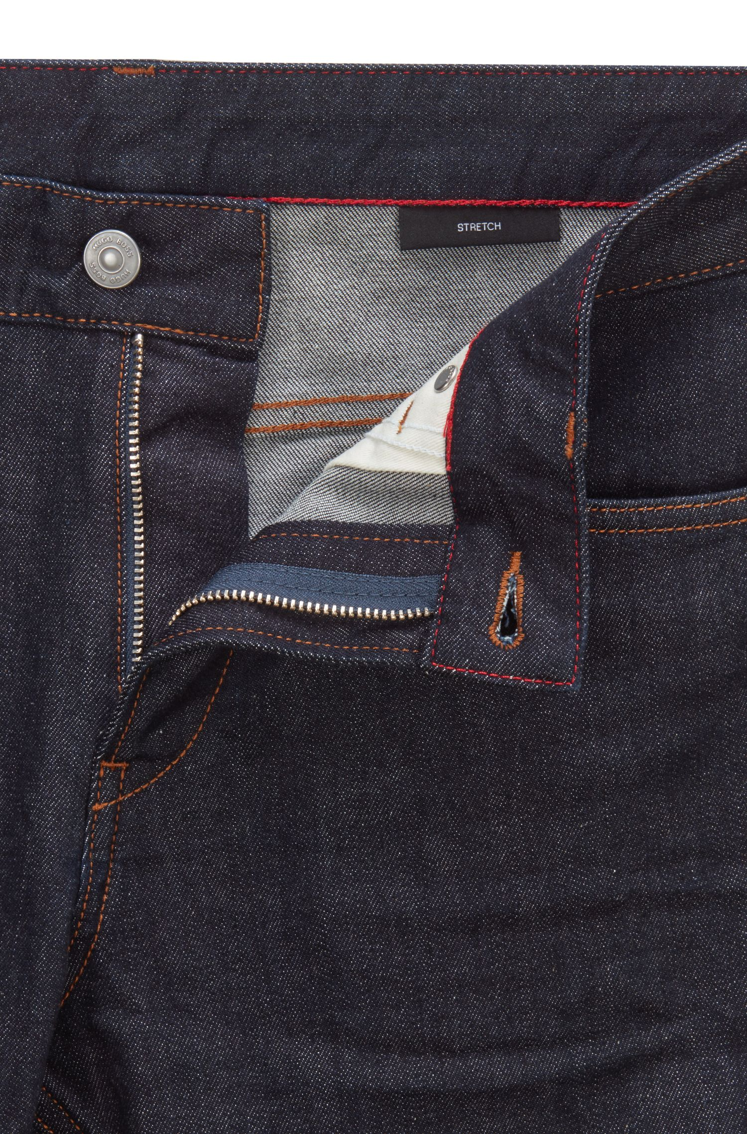 Slim-fit jeans in rinse-washed stretch denim, Dark Blue