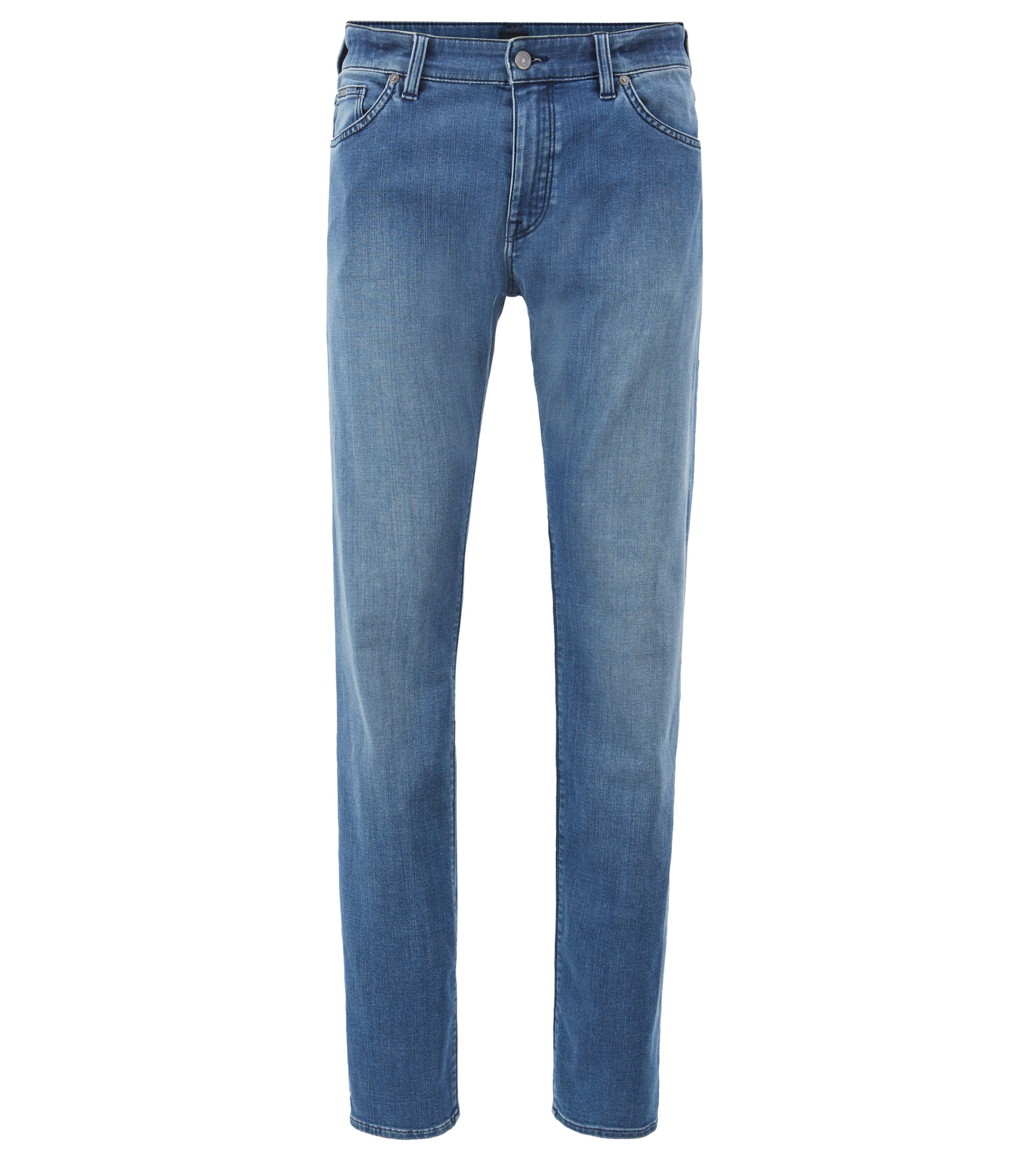 Regular-Fit Jeans aus gewaschenem Stretch-Denim, Türkis