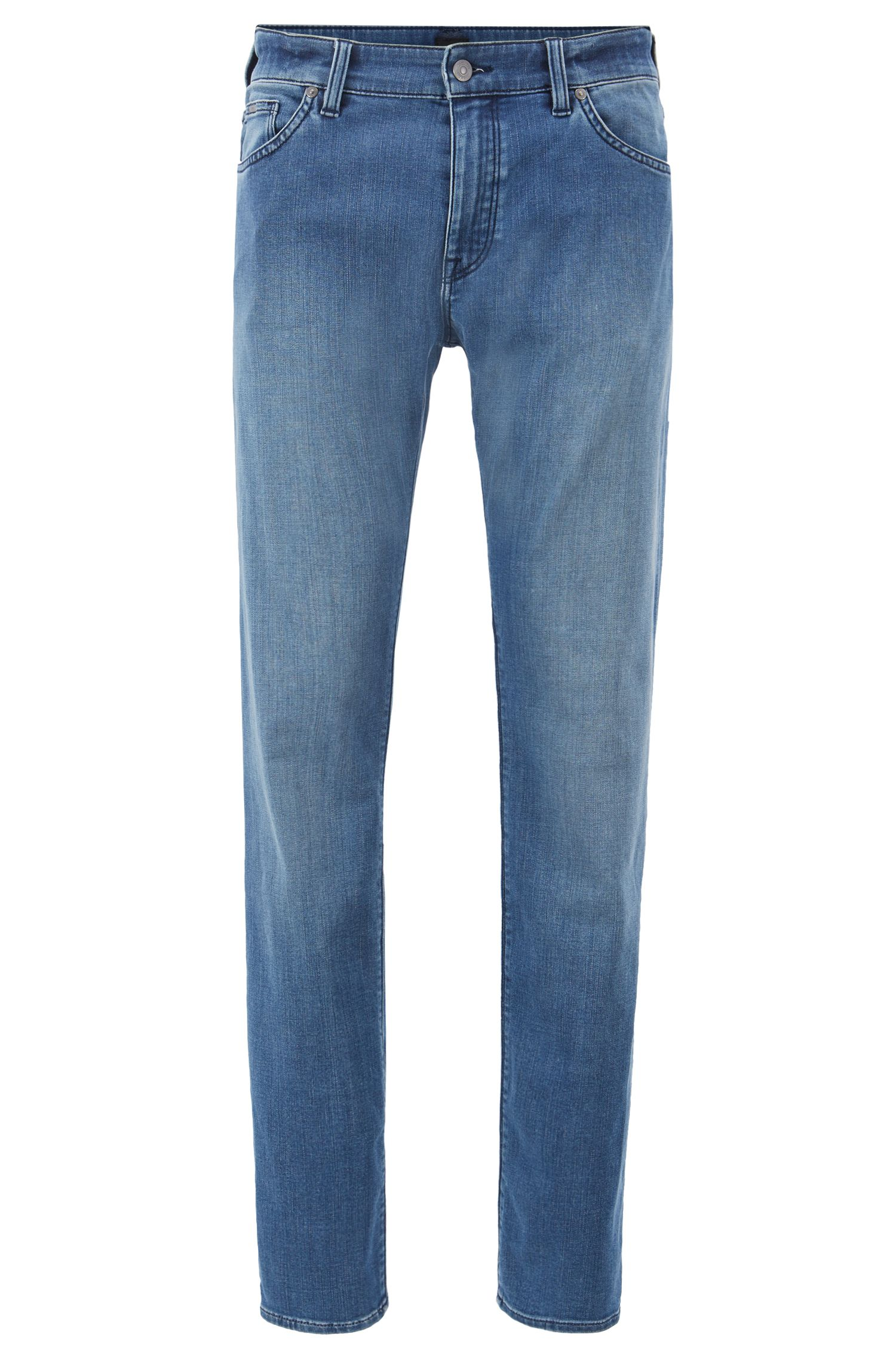 Regular-fit jeans in washed cotton-blend stretch denim, Turquoise