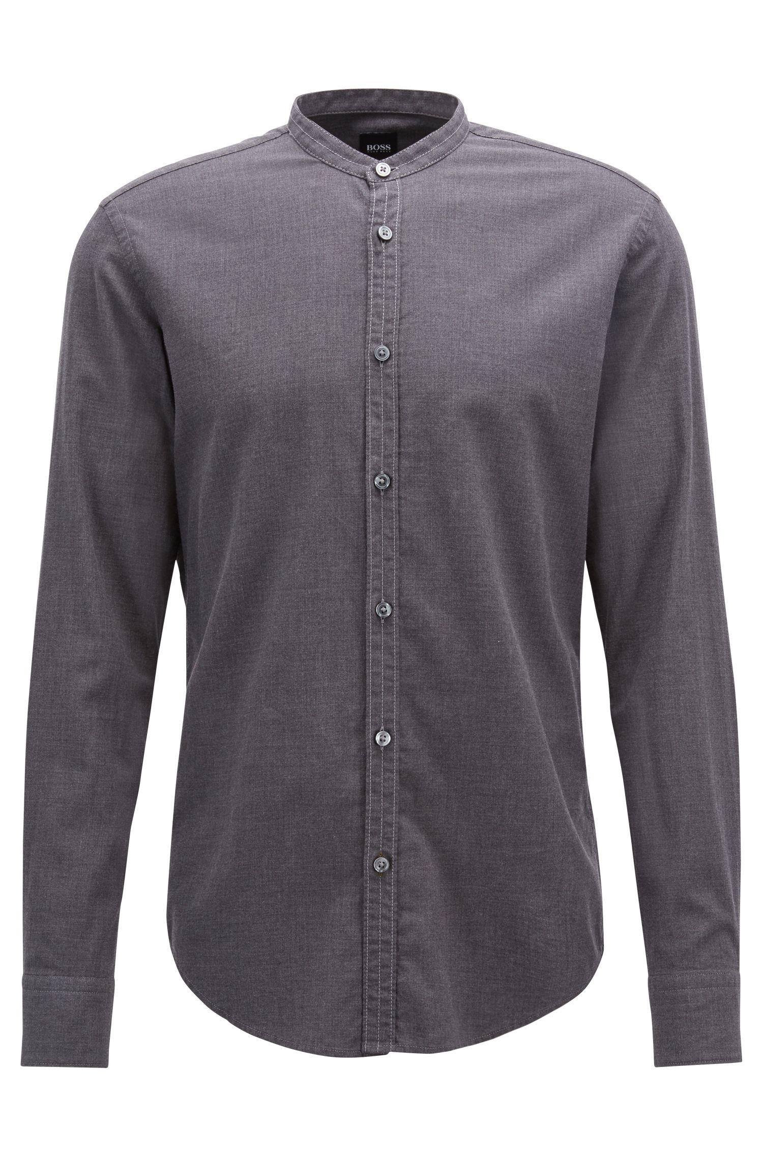 Kraagloos slim-fit overhemd van katoenen flanel, Lichtgrijs