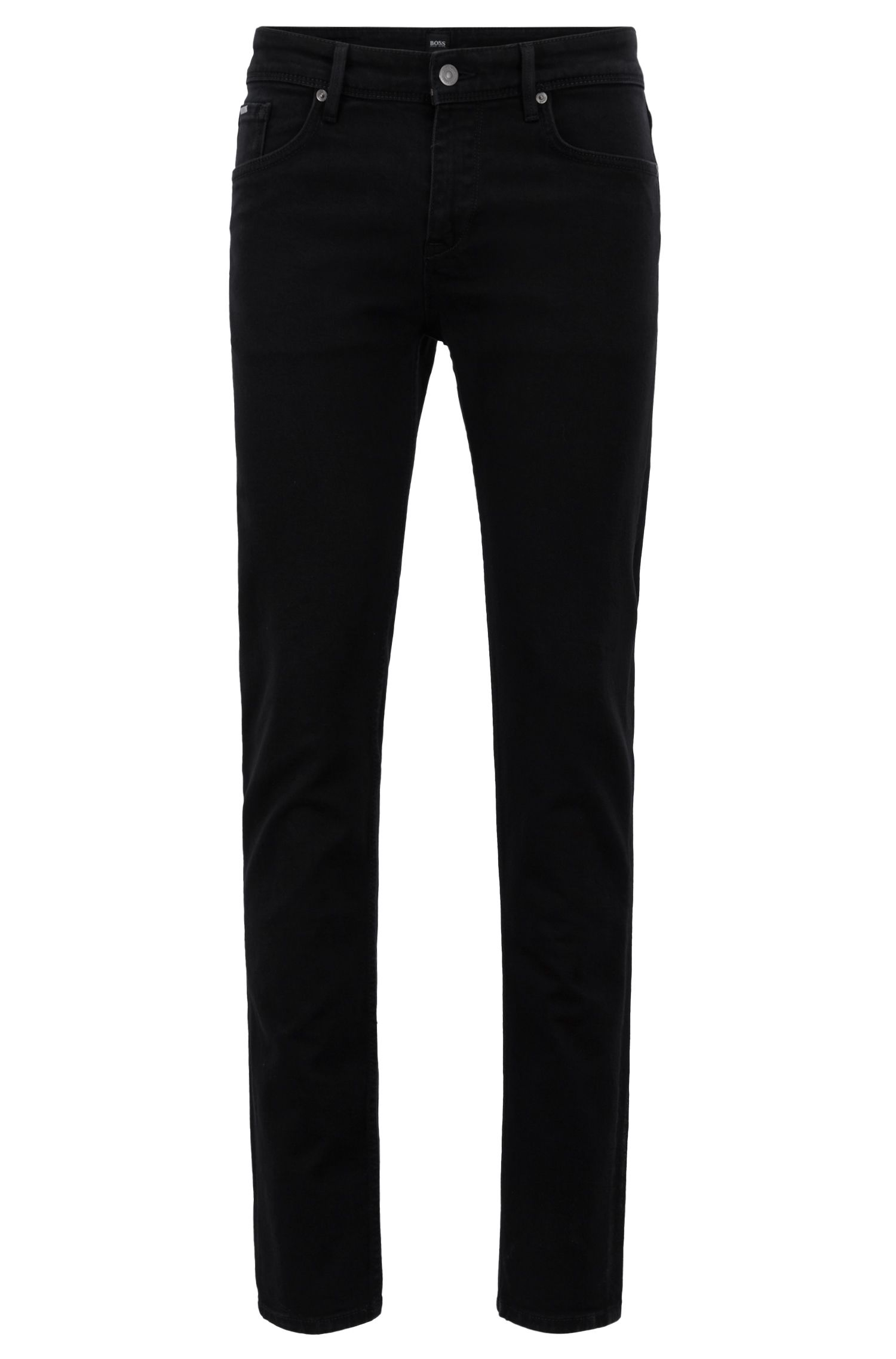 Extra-slim-fit black jeans in Italian stretch denim, Black