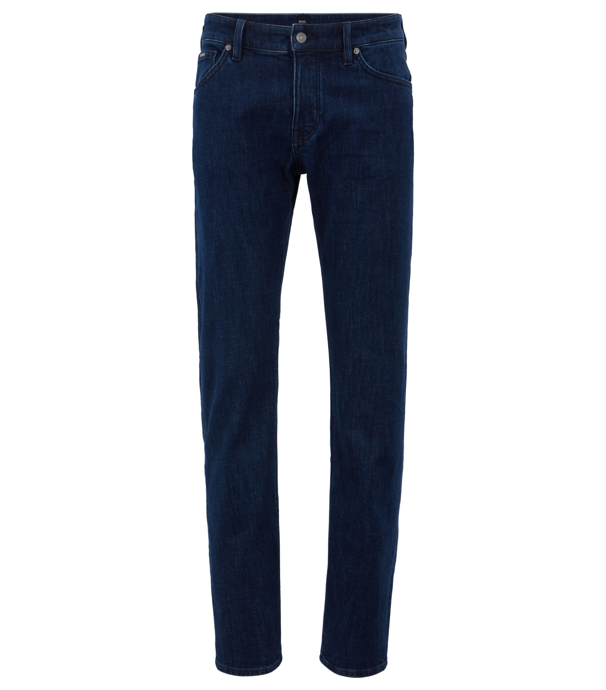 Jeans regular fit in comodo denim elasticizzato blu navy, Blu