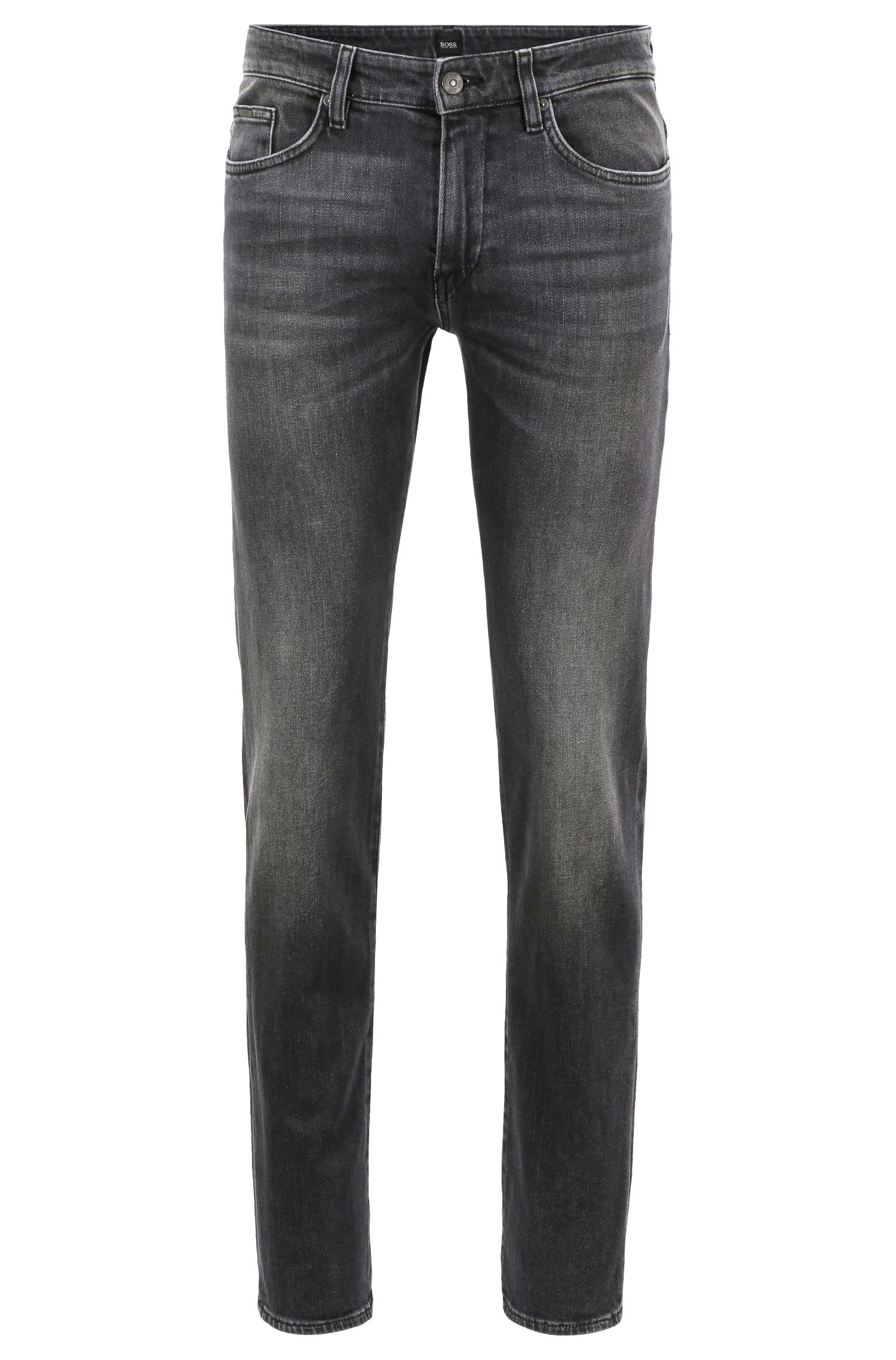 Slim-fit jeans in grey stretch denim, Anthracite
