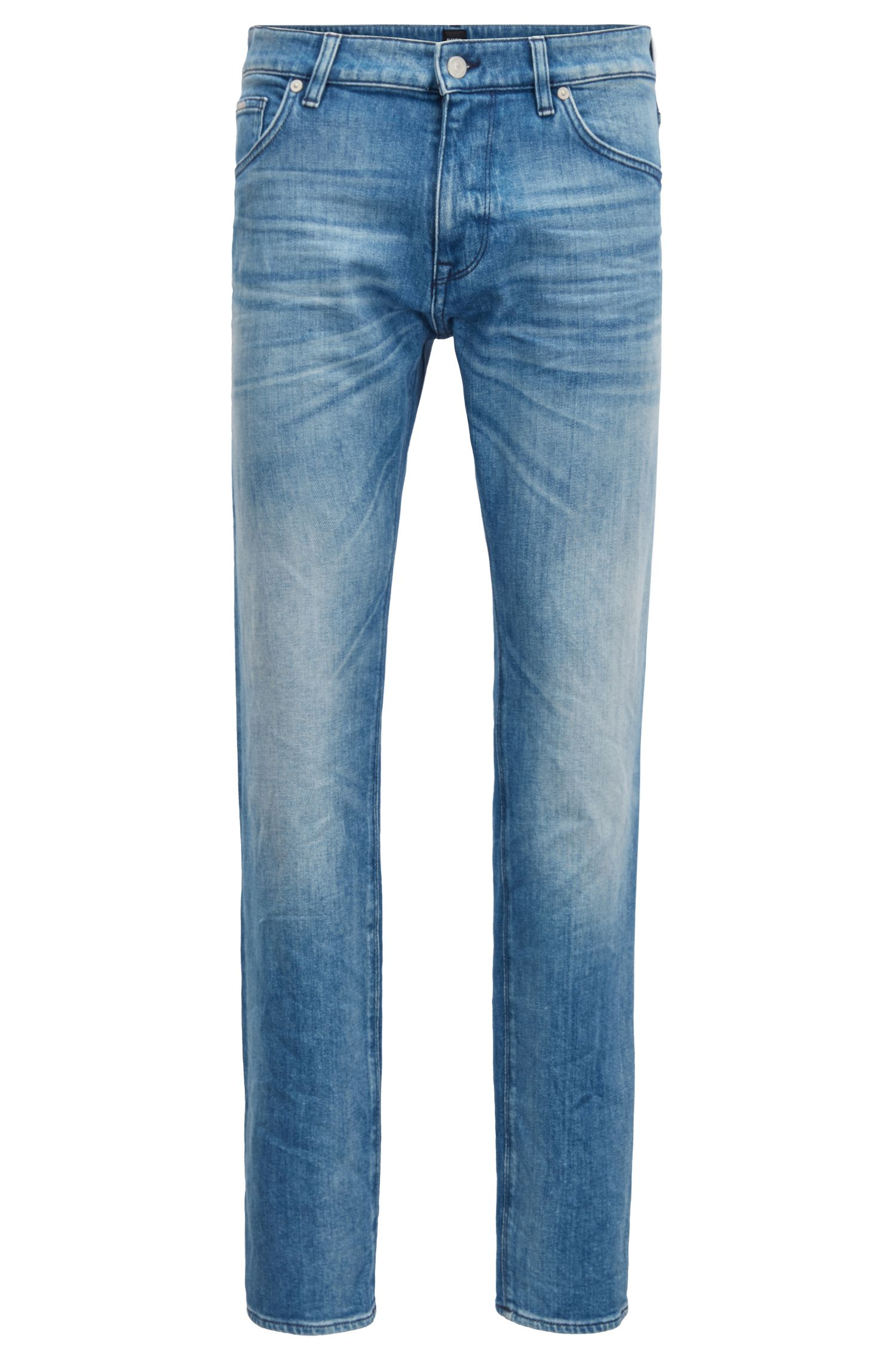 Regular-fit jeans in Italian stretch ring denim, Turquoise